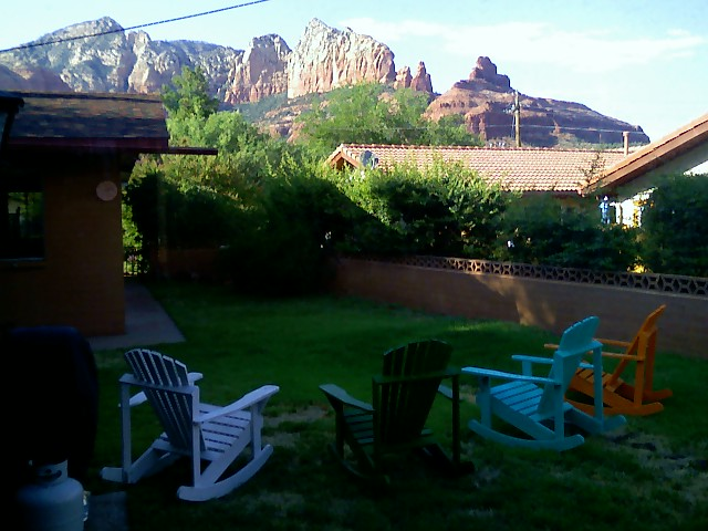 Backyard Mountain Views with Chairs and BBQ