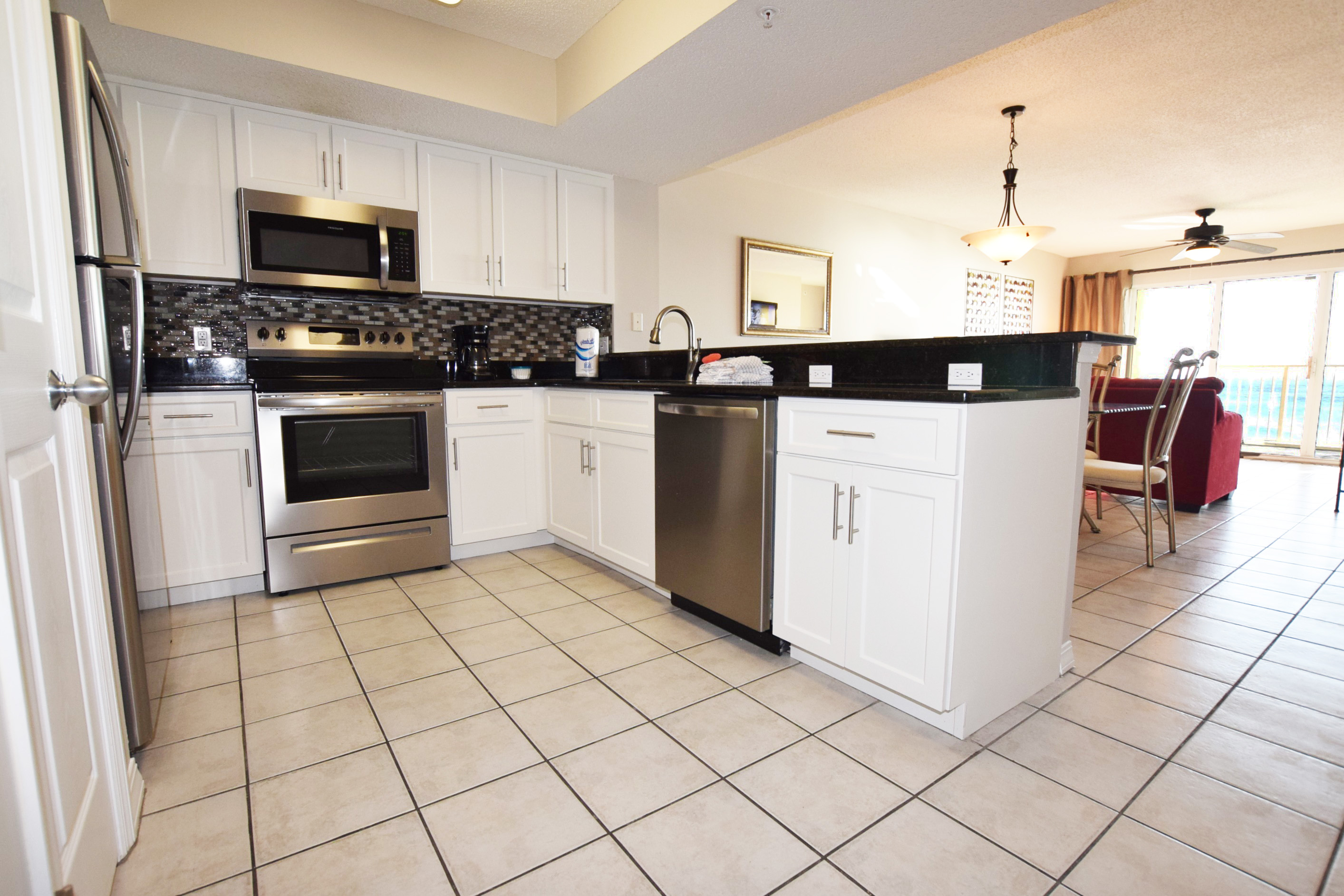 Kitchen with Granite and Stainless upgrades - Gulf Dunes 413 Fort Walton Beach Okaloosa Island Vacation Rentals
