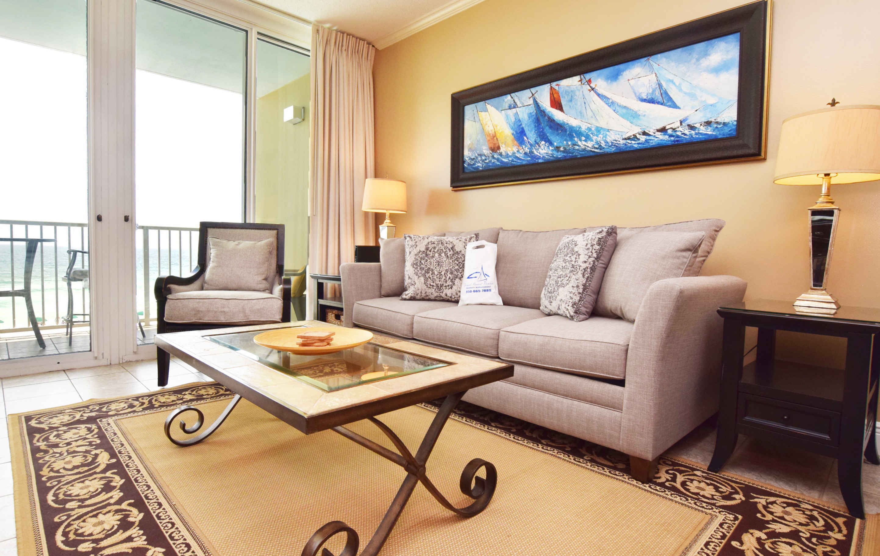 Living Room with Private Balcony - Waters Edge Resort Unit 412 Fort Walton Beach Okaloosa Island Vacation Rentals
