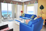 Living Room with Private Corner Balcony - Gulf Dunes 517 Fort Walton Beach Okaloosa Island Vacation Rentals
