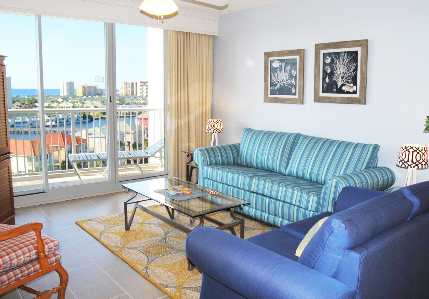 Living Room with Private Balcony - The Terrace at Pelican Beach Resort Destin Florida Vacation Rentals