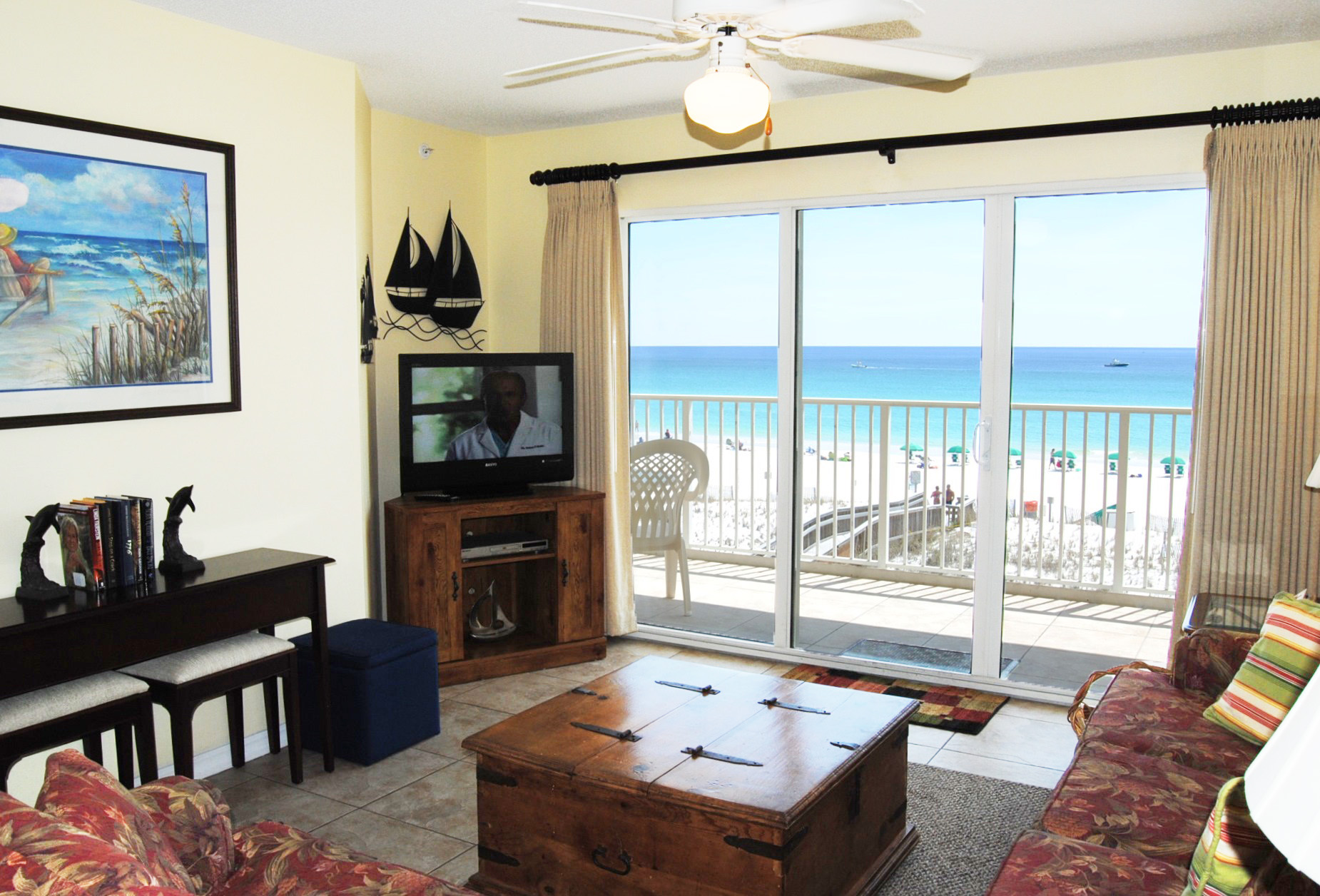 Living Room with Ocean View -  Gulf Dunes 304 Fort Walton Beach Florida Okaloosa Island Vacation Rentals