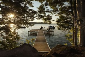 Zalmims Cabin - Great Pond Maine - Boat Dock - Lakeside Cottage Rentals