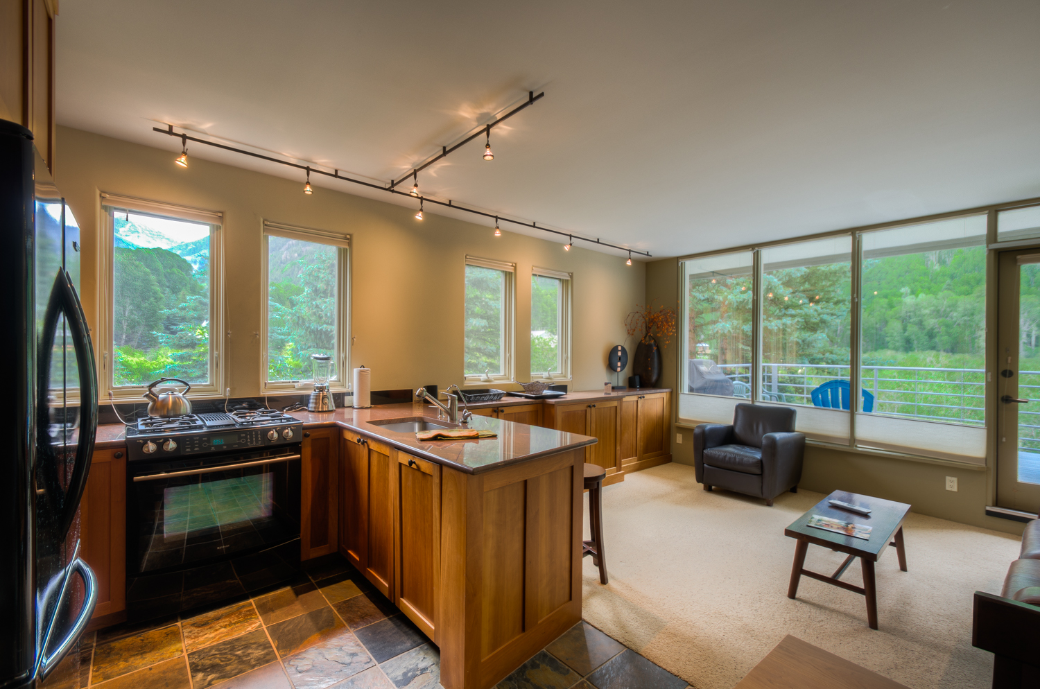 Kitchen to Living Room with uncomparable views
