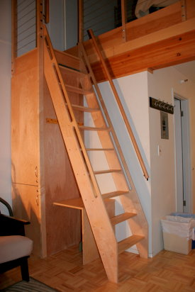 A stationary ladder up to the loft