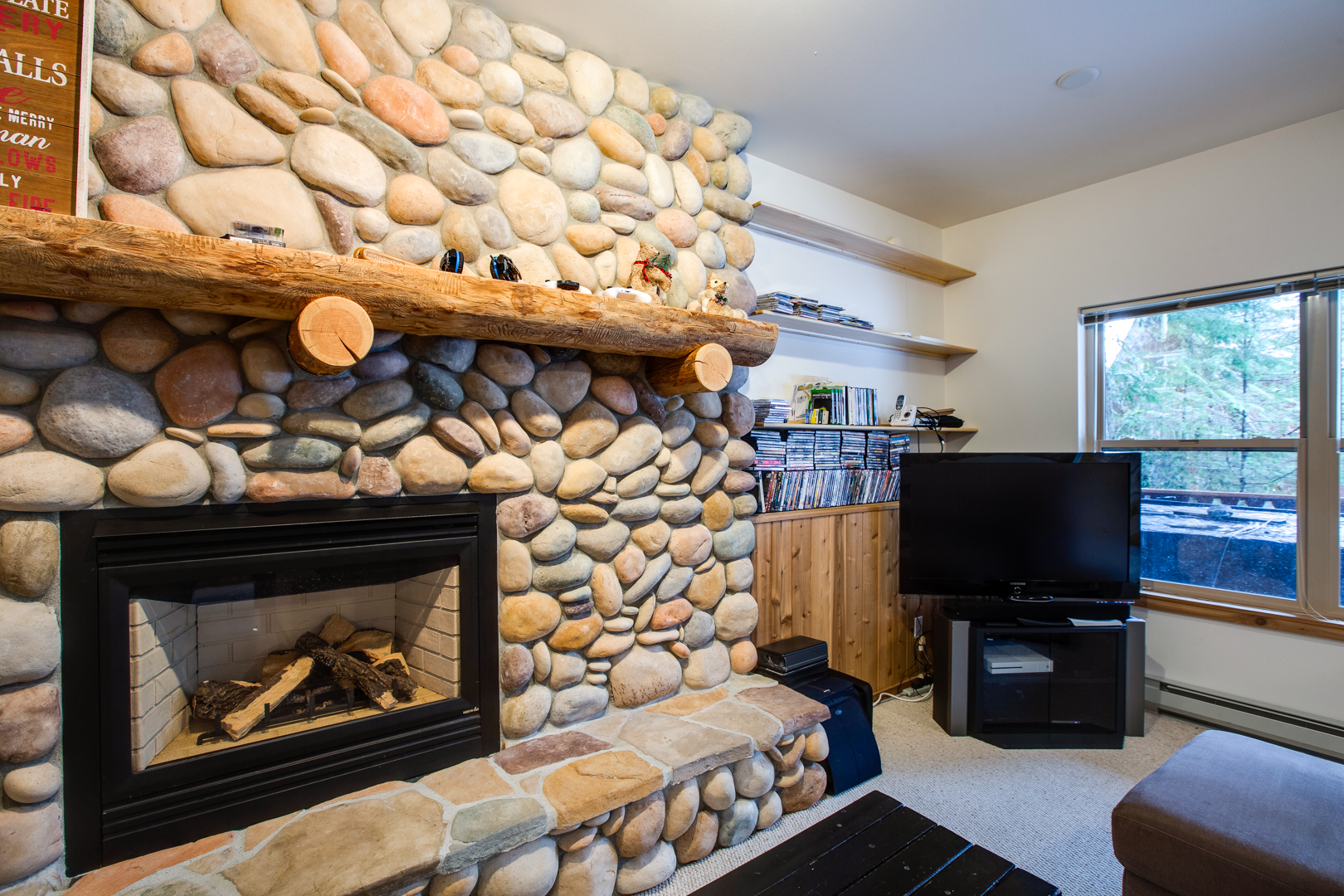 Cozy up next to the gas fireplace