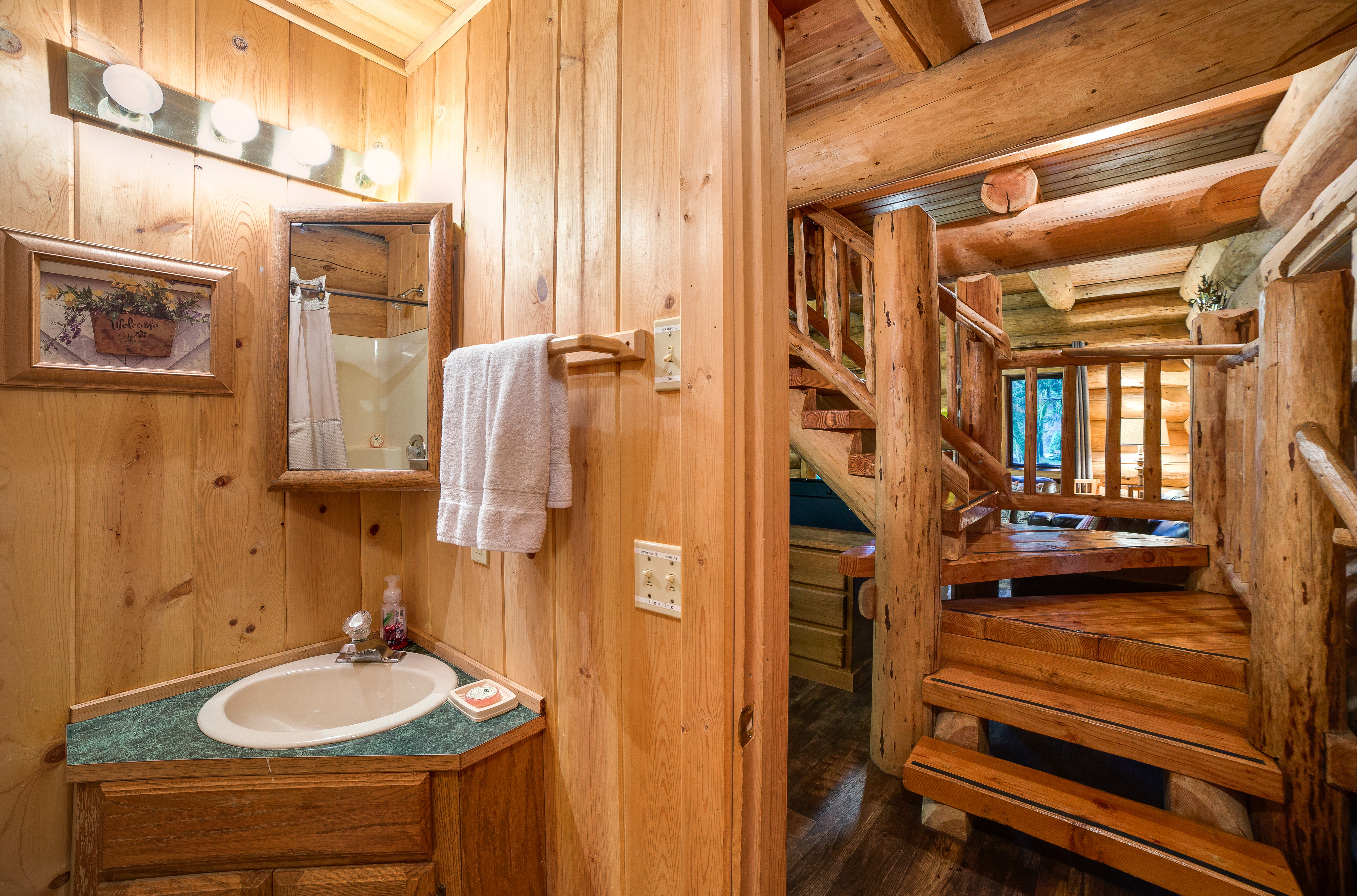 Bathroom and upstairs stairwell