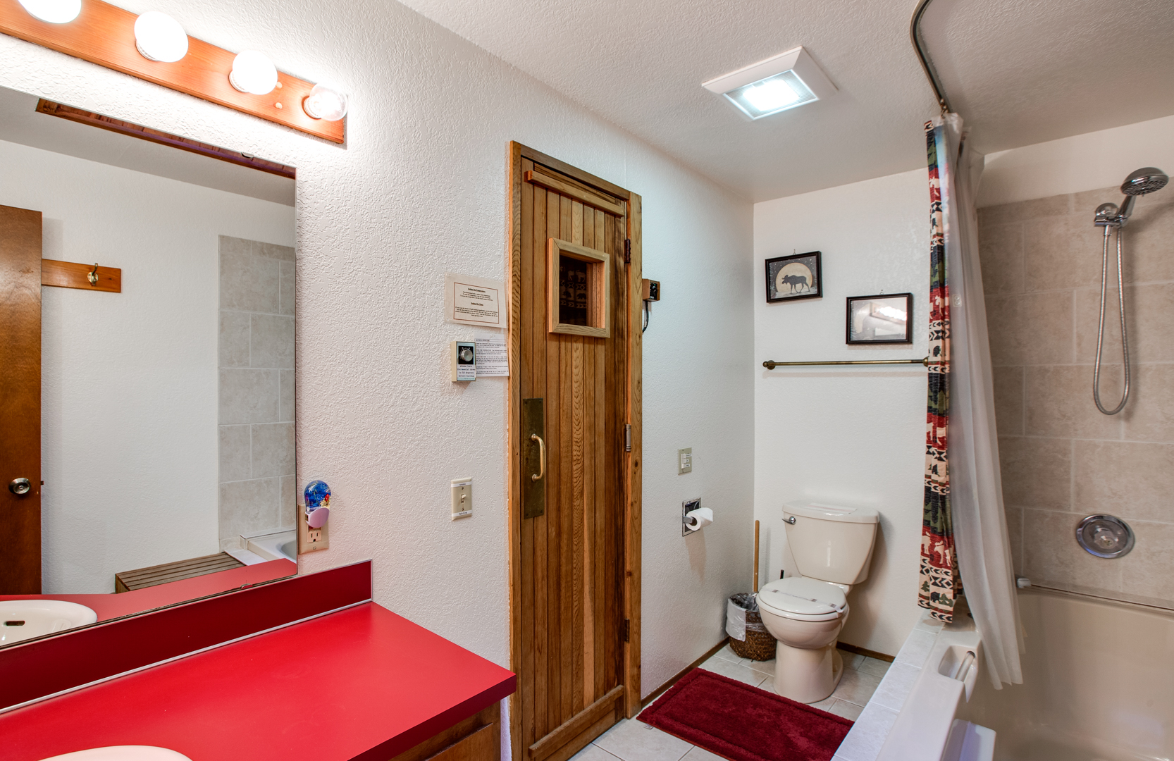 Main bathroom with attached sauna