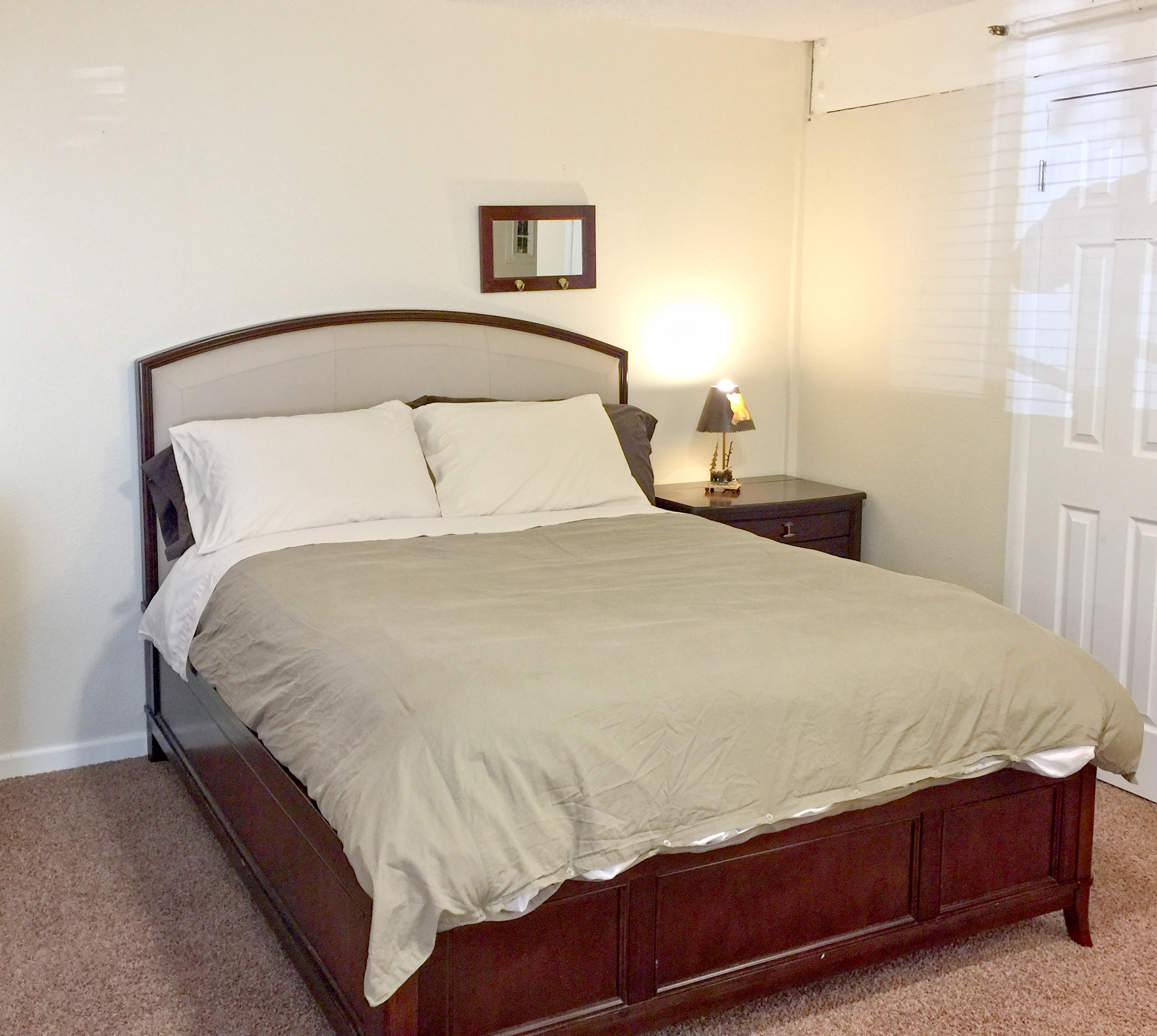 The other side of the bedroom with a queen bed