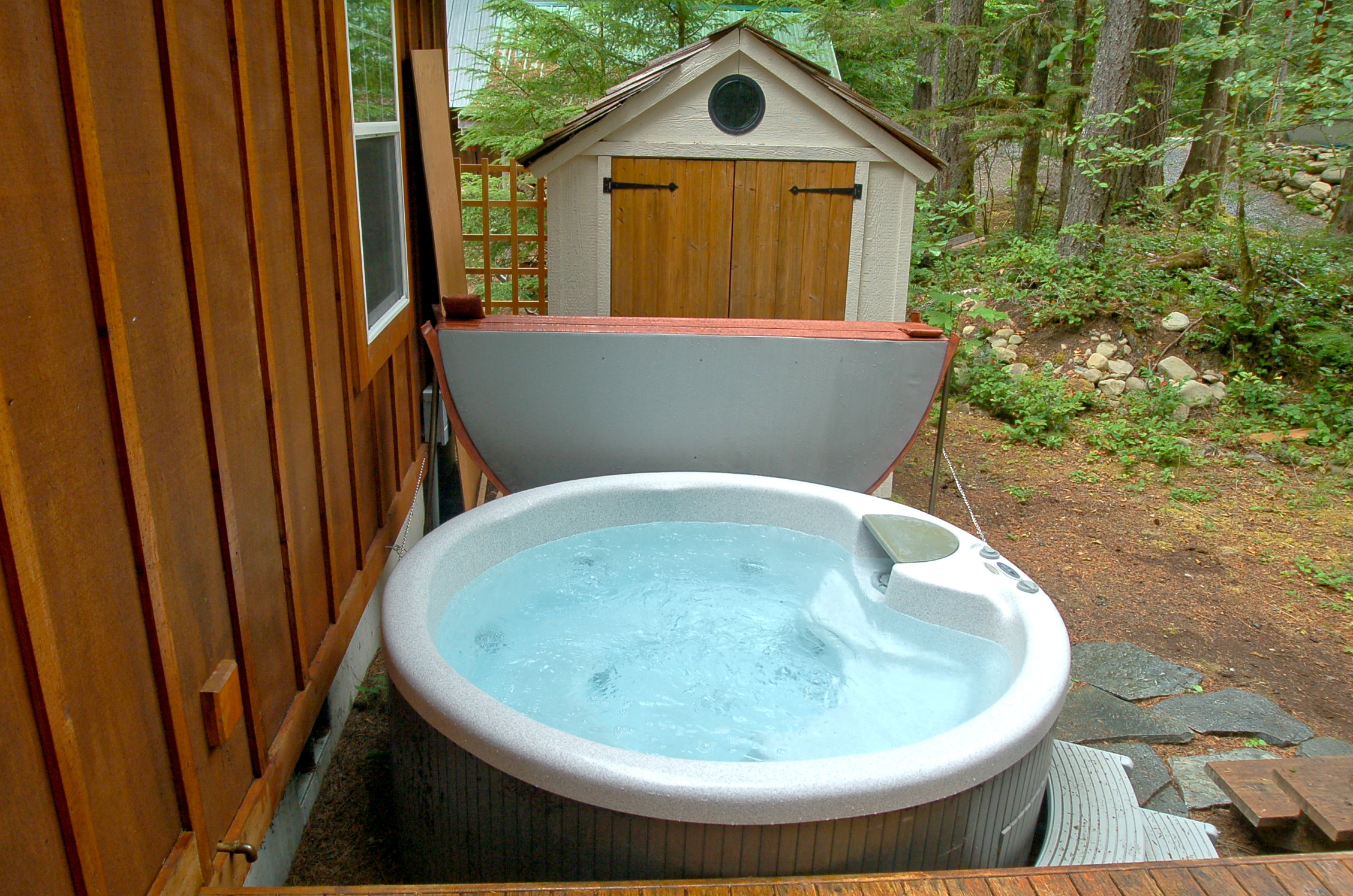 Outside is your private hot tub