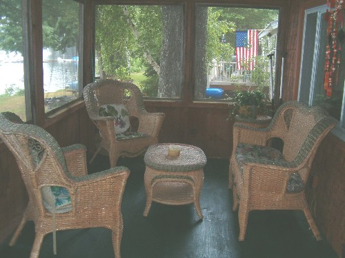 Screen porch, Distant View of Boat Docks