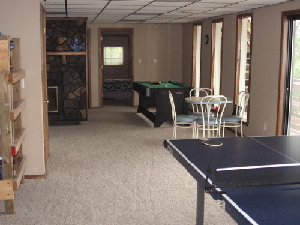 The downstairs game room is \\