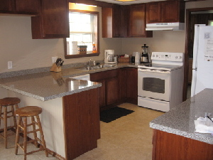 The kitchen is modern and fully equiped