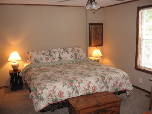 The master bedroom is one of three upstairs