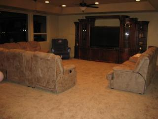 Family Room on middle level with airhockey and 65 inch big s