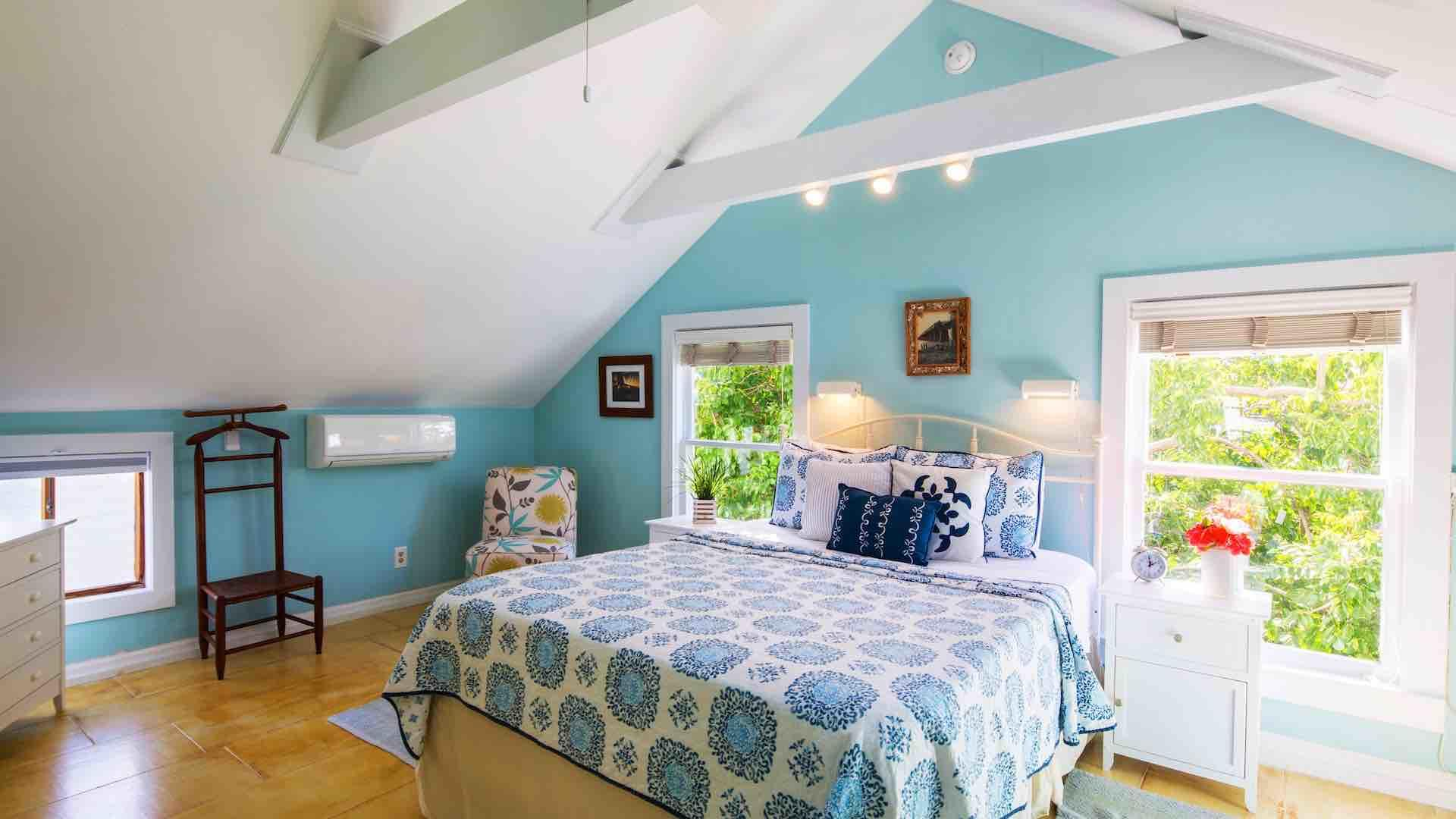 The first bedroom has vaulted ceilings and a Queen bed...
