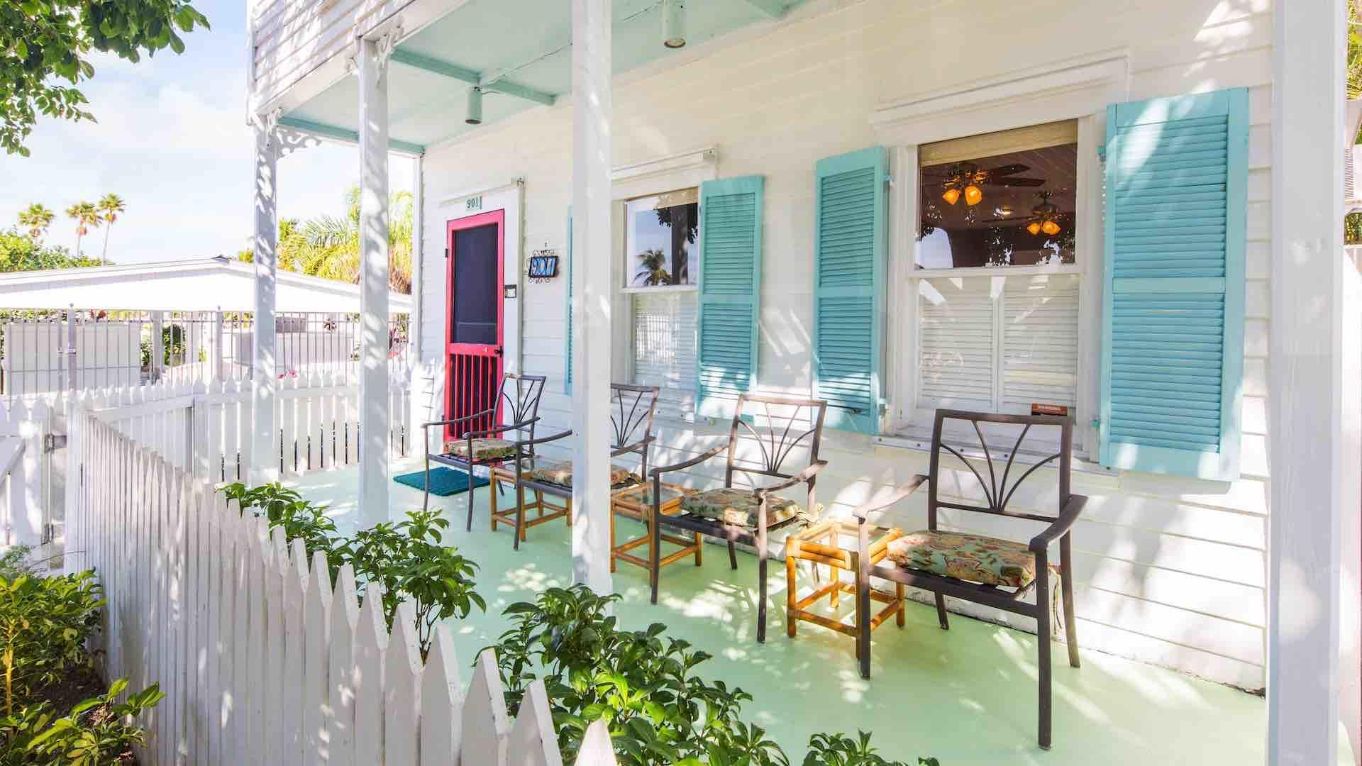 The front porch has seating and is great for people watching...