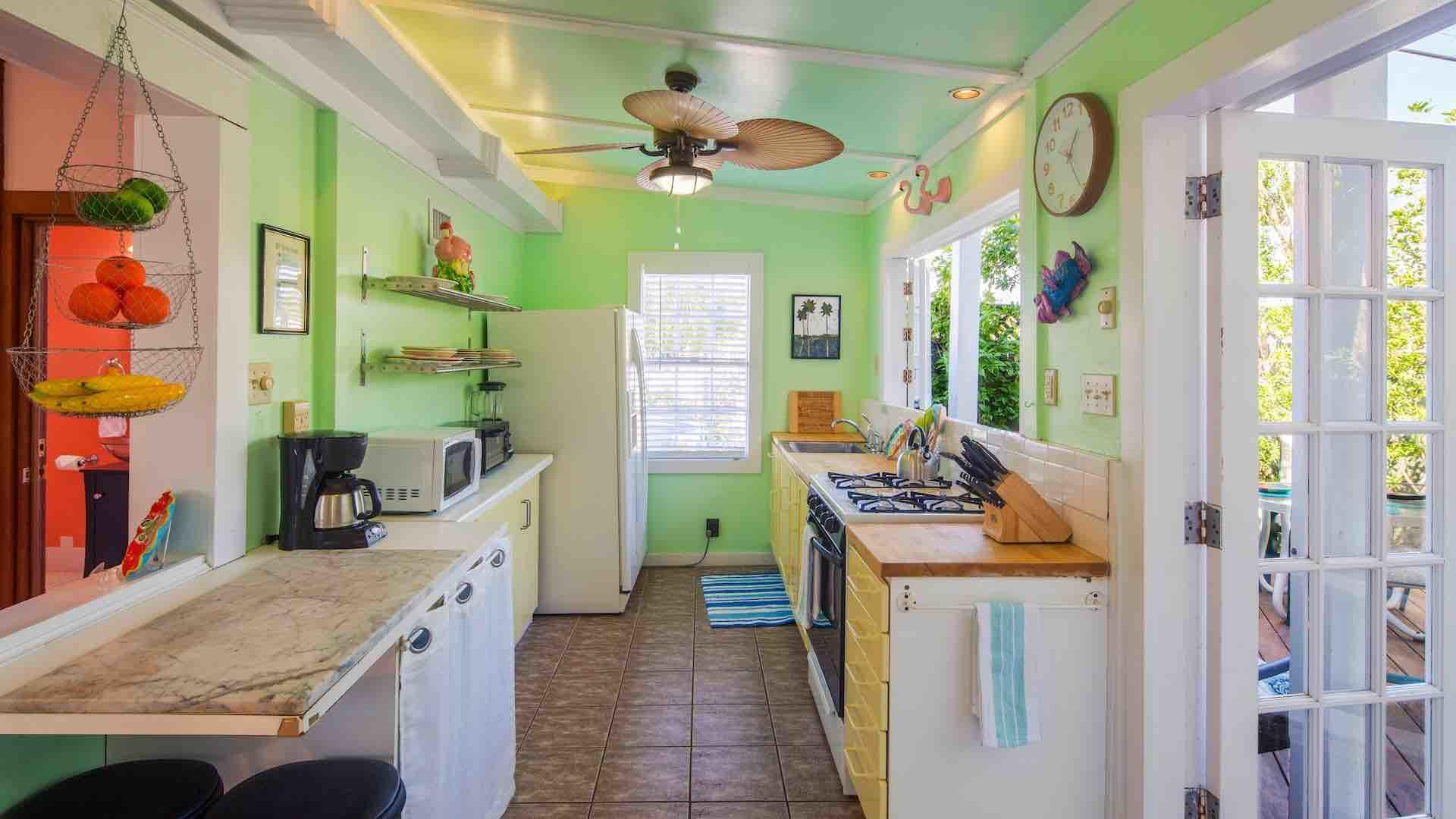 The galley style kitchen has all your household appliances, including a blender...