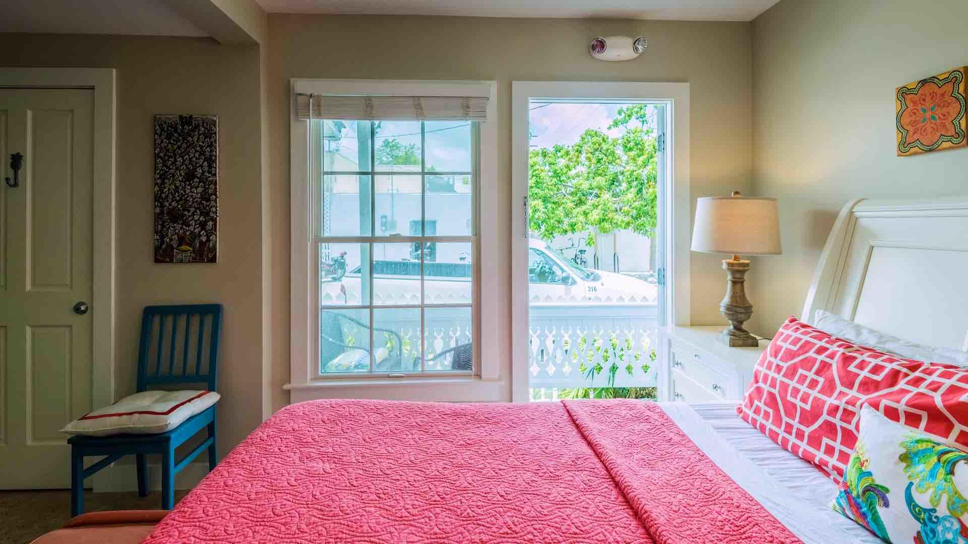 The first bedroom has a private balcony...
