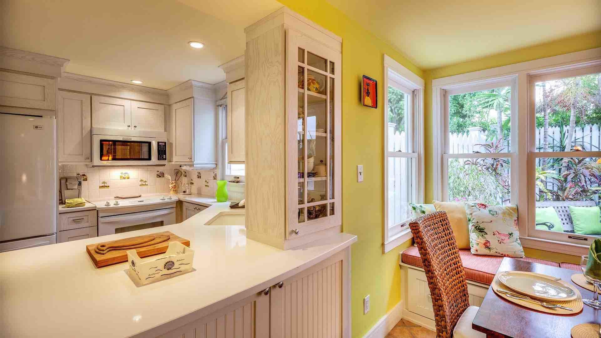 The kitchen passthrough is a great convenience when dining inside...