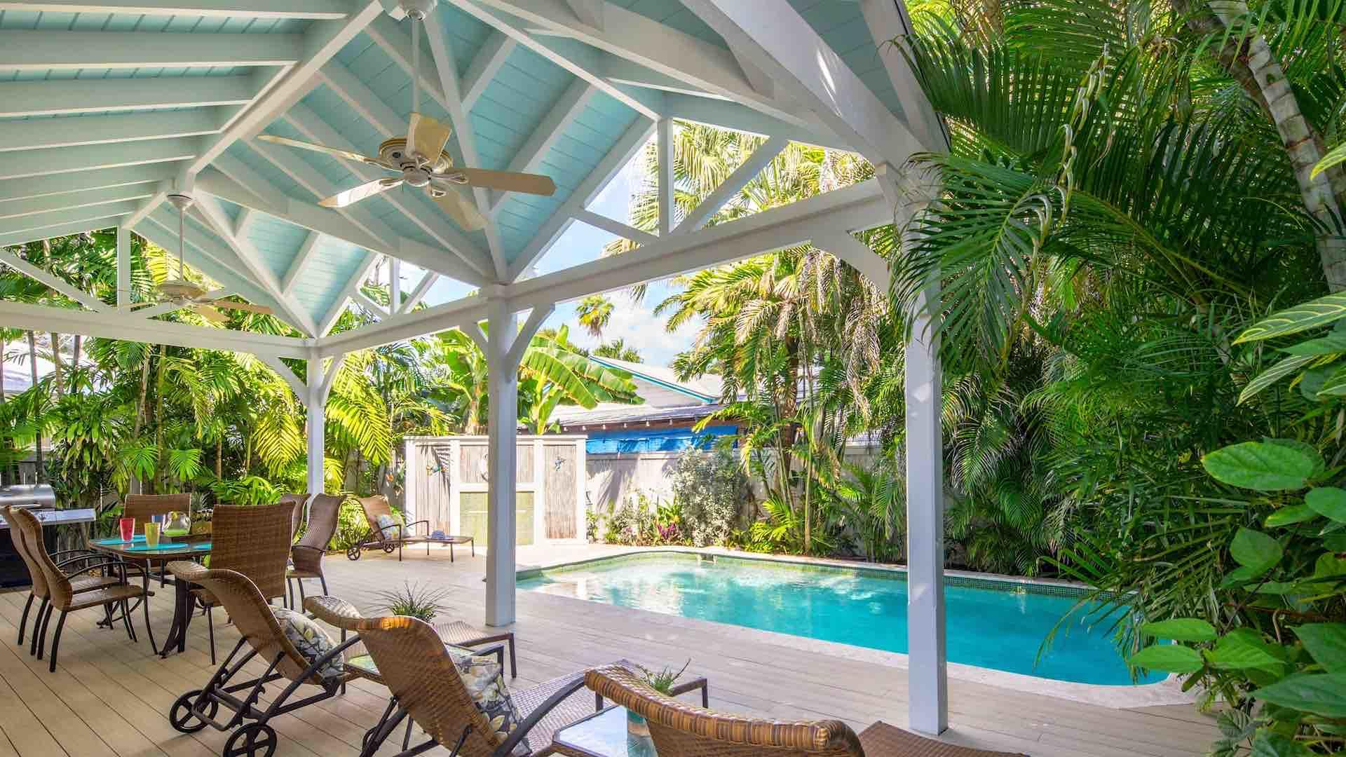 Monthly vacation home rental in Old Town Key West with pool and 3 bedrooms close to Duval