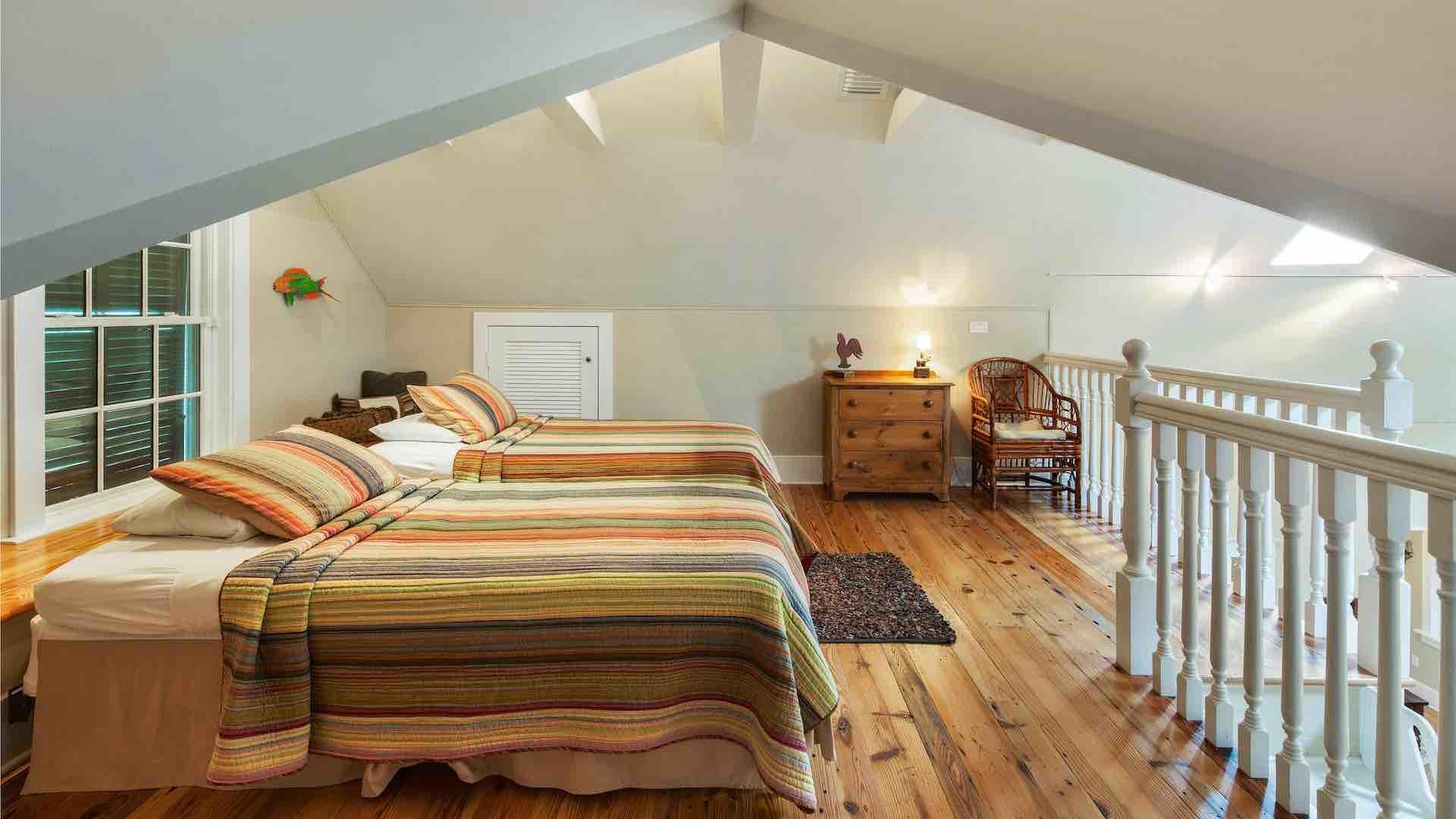The loft area has two twin beds that convert to a King upon request...