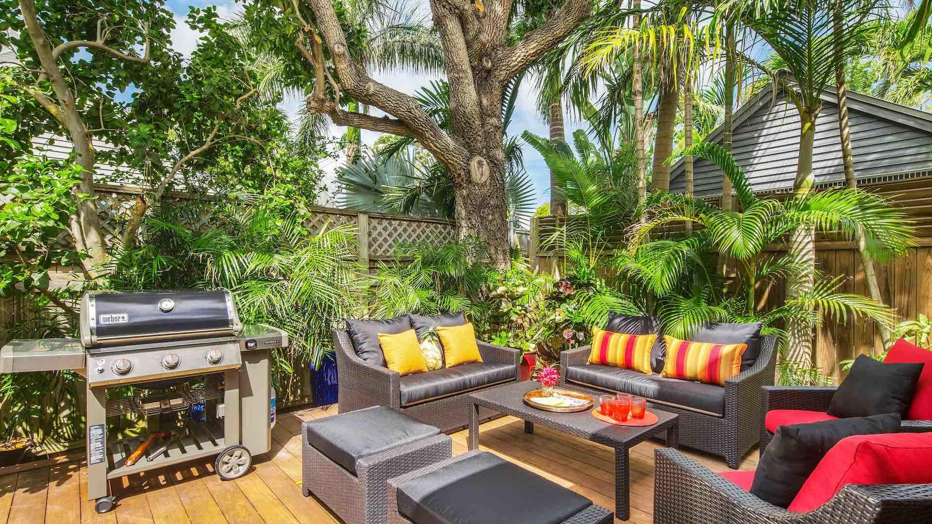Lush landscaping surrounds the back yard area and makes it feel even more private...