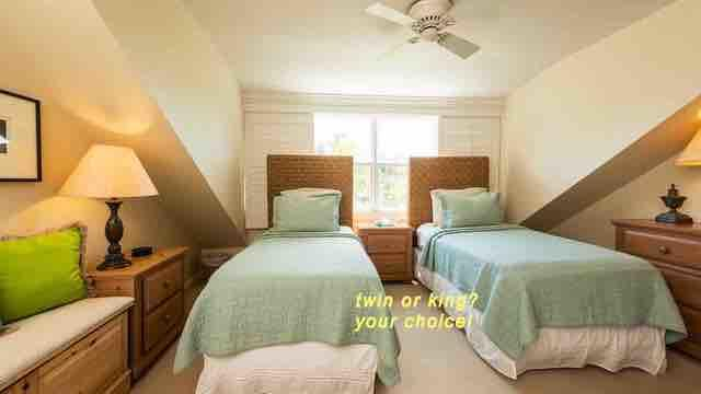 The second bedroom is located on the third floor, with two twin beds that can convert to a King upon request...