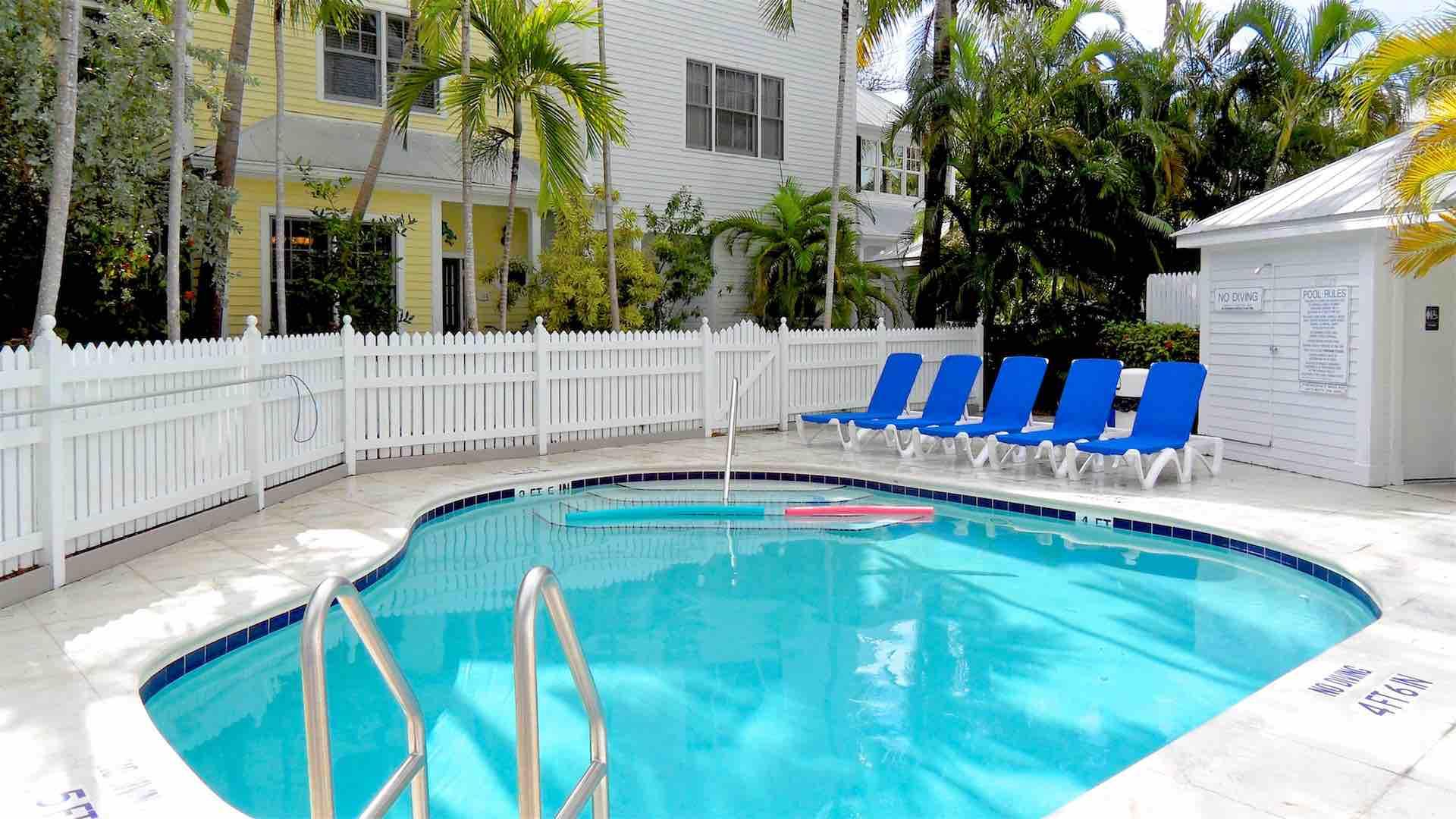 Chaise lounges surround the pool's deck and are availble for guest use...