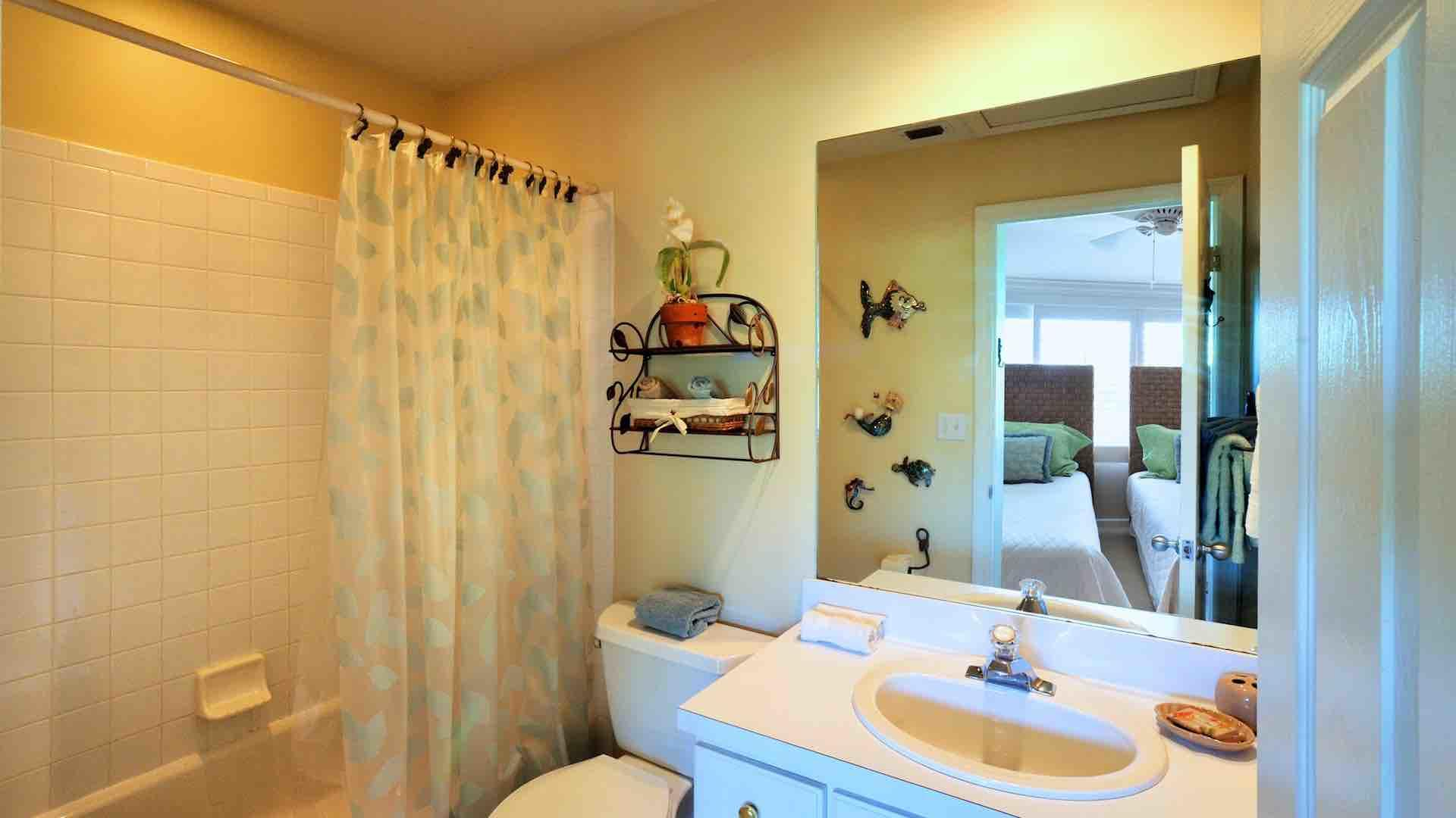 The second en suite bathroom has a shower and tub combo too...