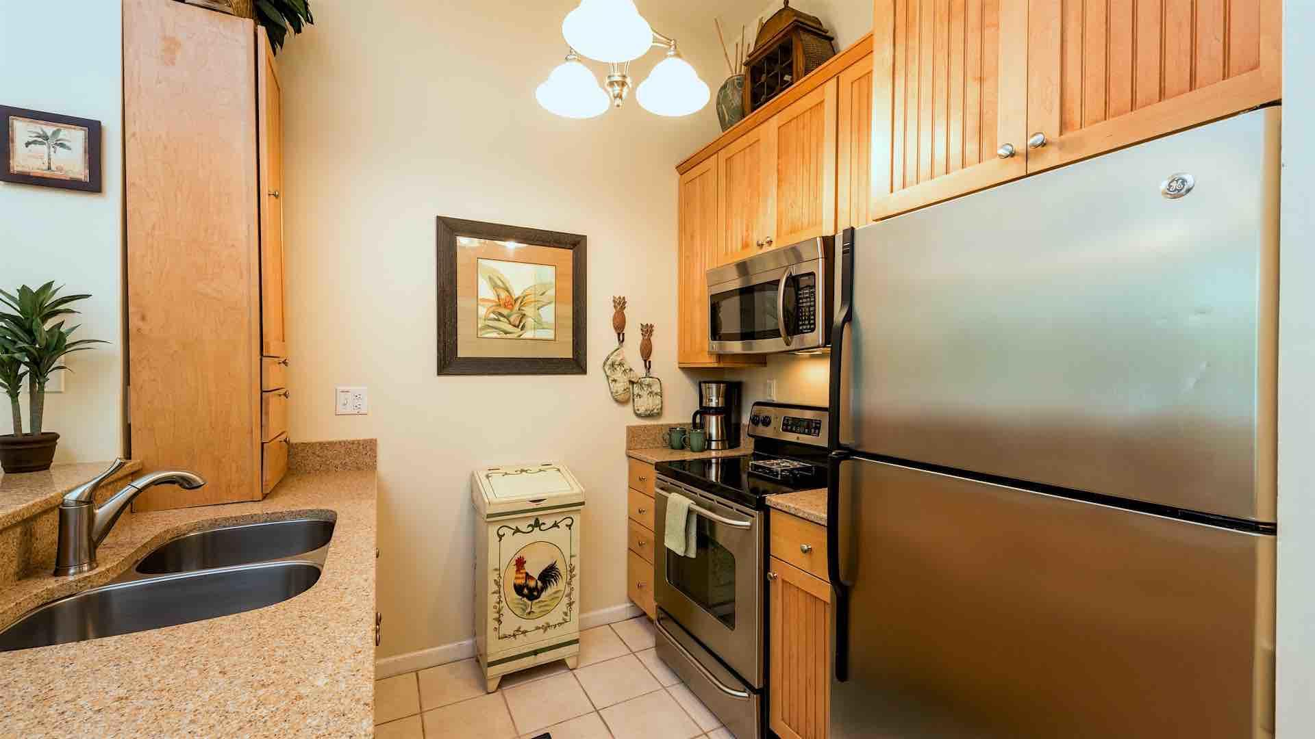 The fully equipped kitchen has top of the line stainless steel appliances and every tool needed to prepare a meal from home...