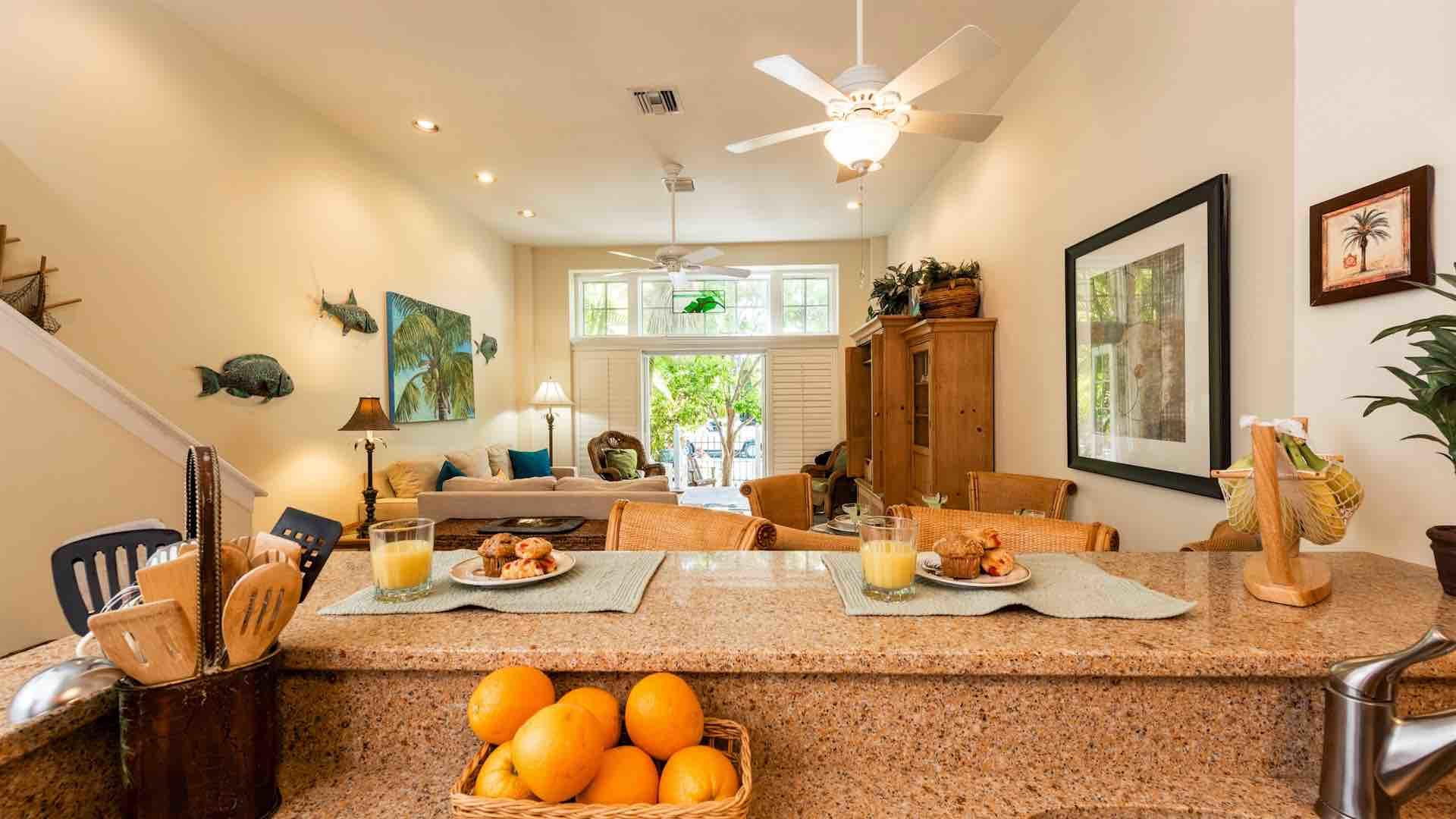 The open layout of the first floor is perfect for entertaining your whole group...