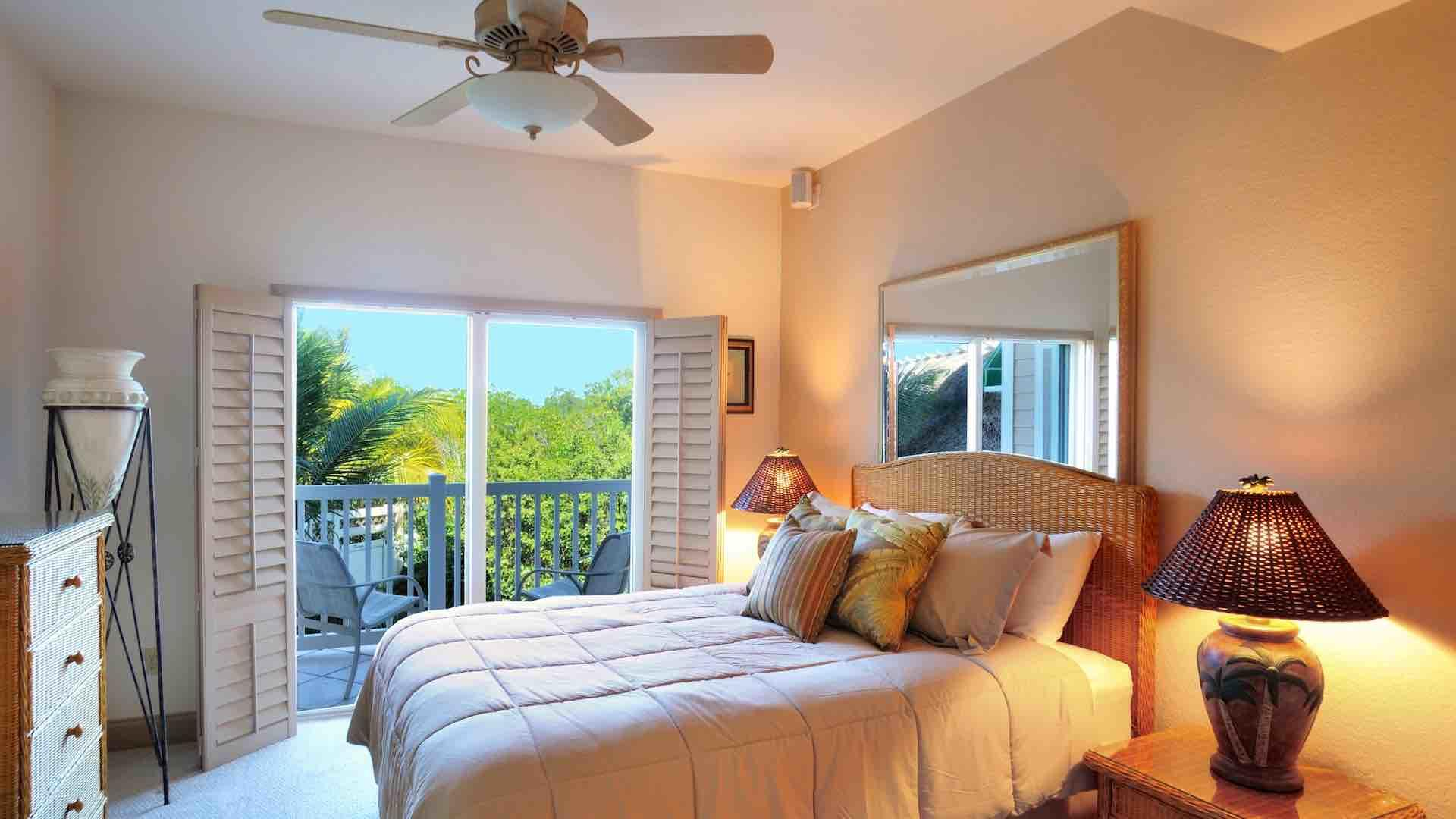 The third bedroom has a Queen bed and a private balcony...