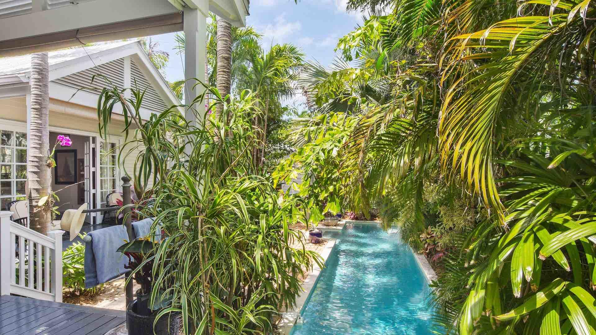 The entire backyard has lush lanscaping, which provides complete privacy...