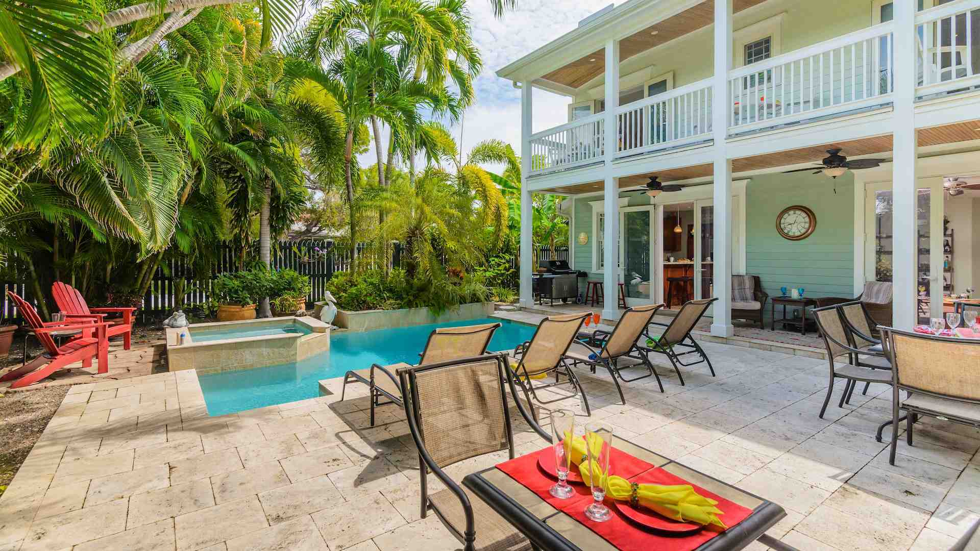 Pet Friendly Old Town Key West monthly vacation home rental with 4 bedrooms and pool