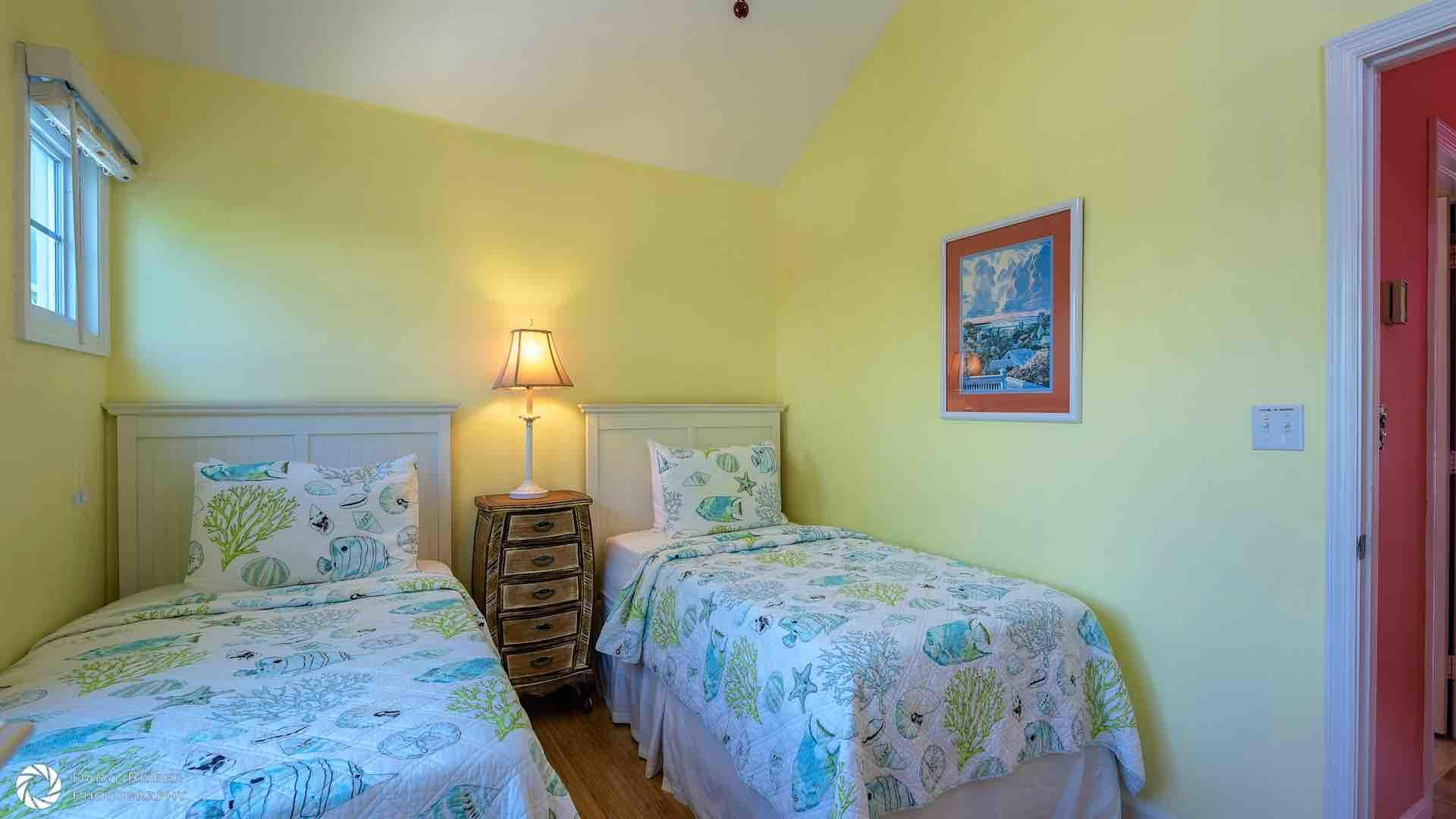 The second bedroom has two twin beds that convert to a King bed on request...