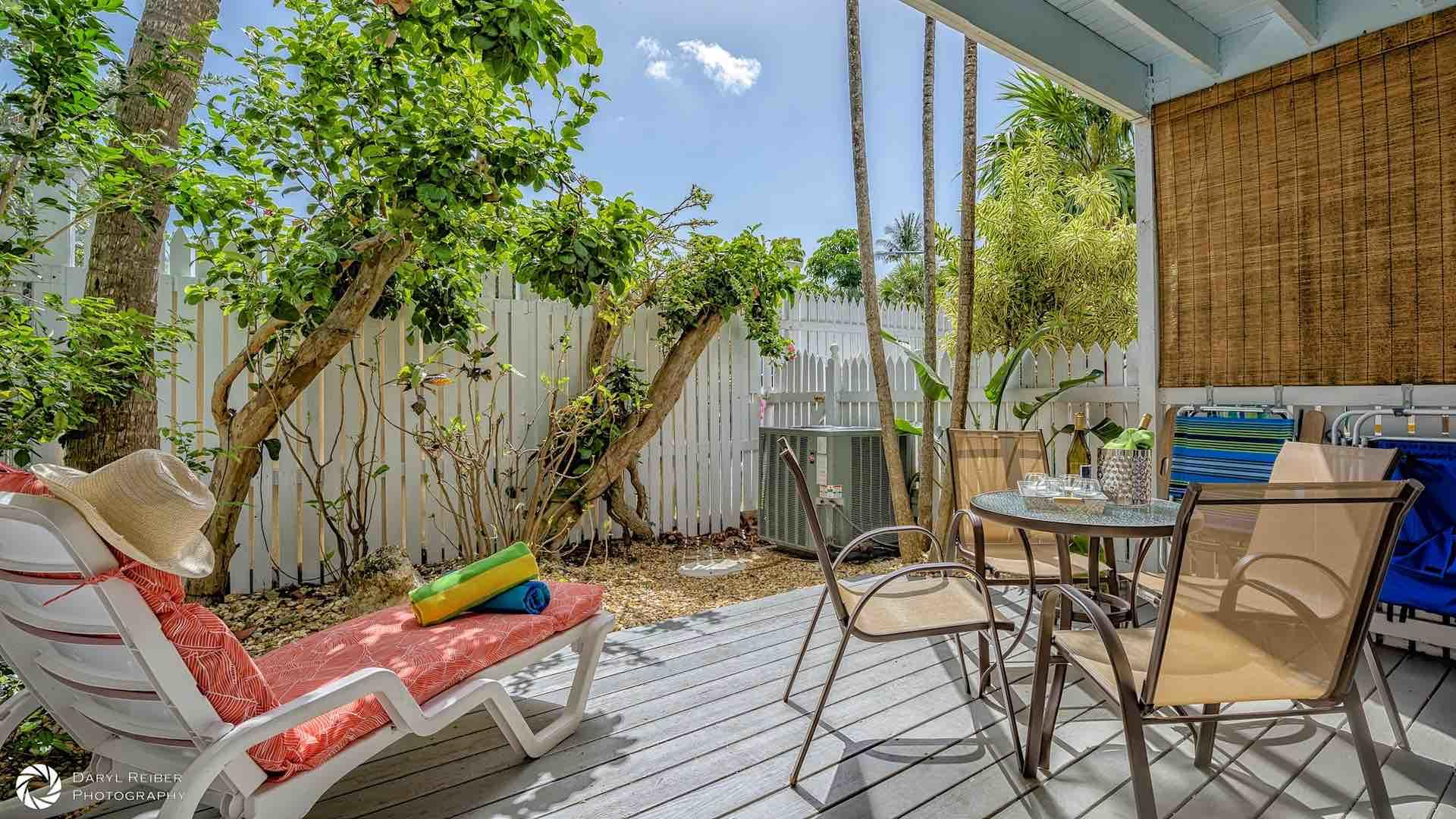 The back deck is fenced in to provide complete privacy...