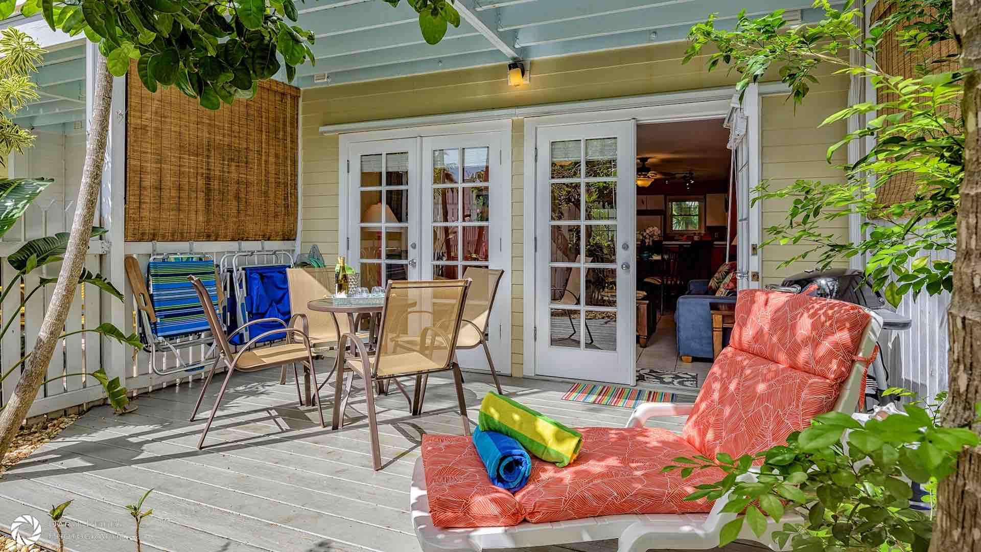 The back deck offers outdoor dining and lounging...