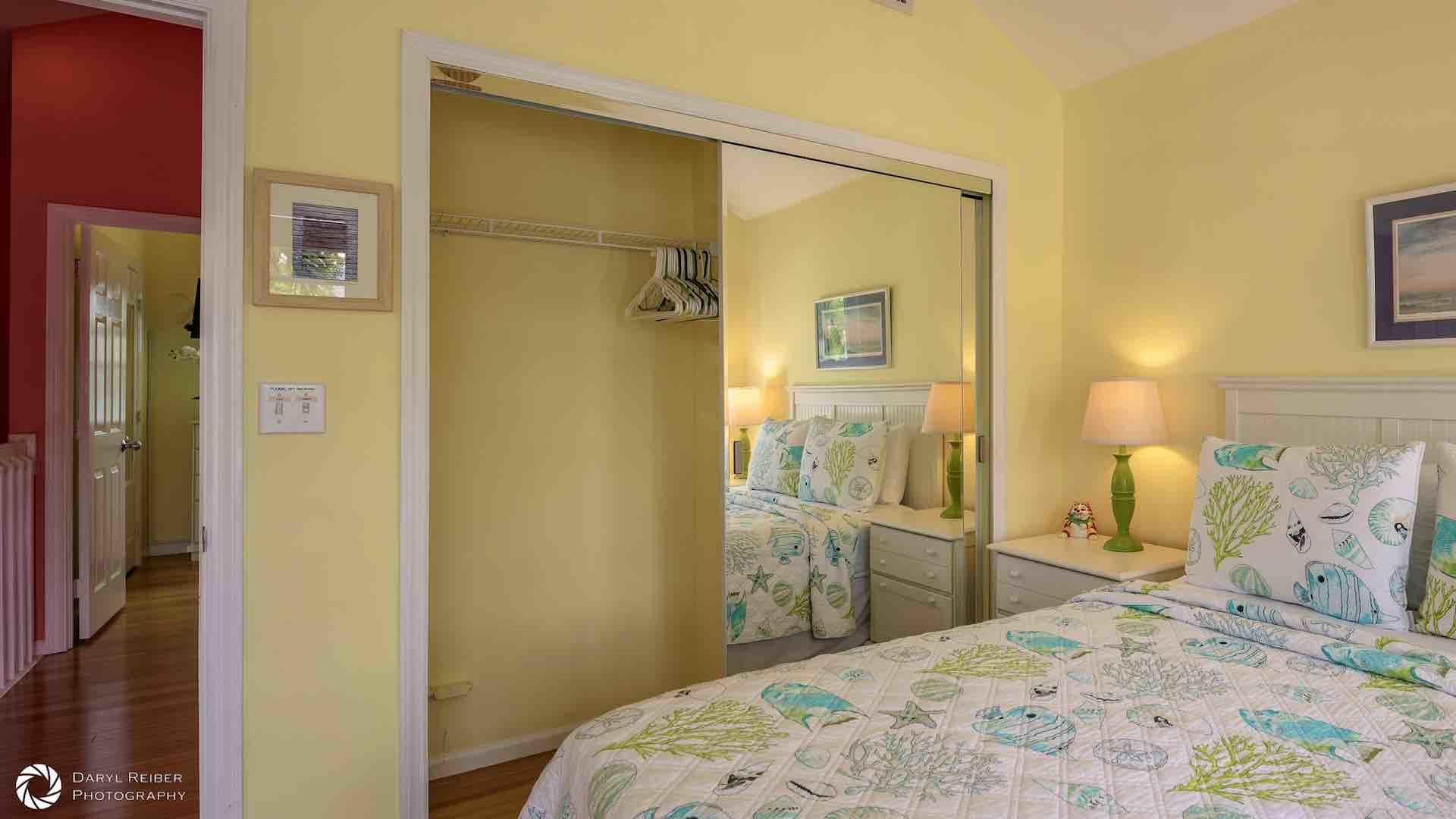 The master bedroom has a large closet...