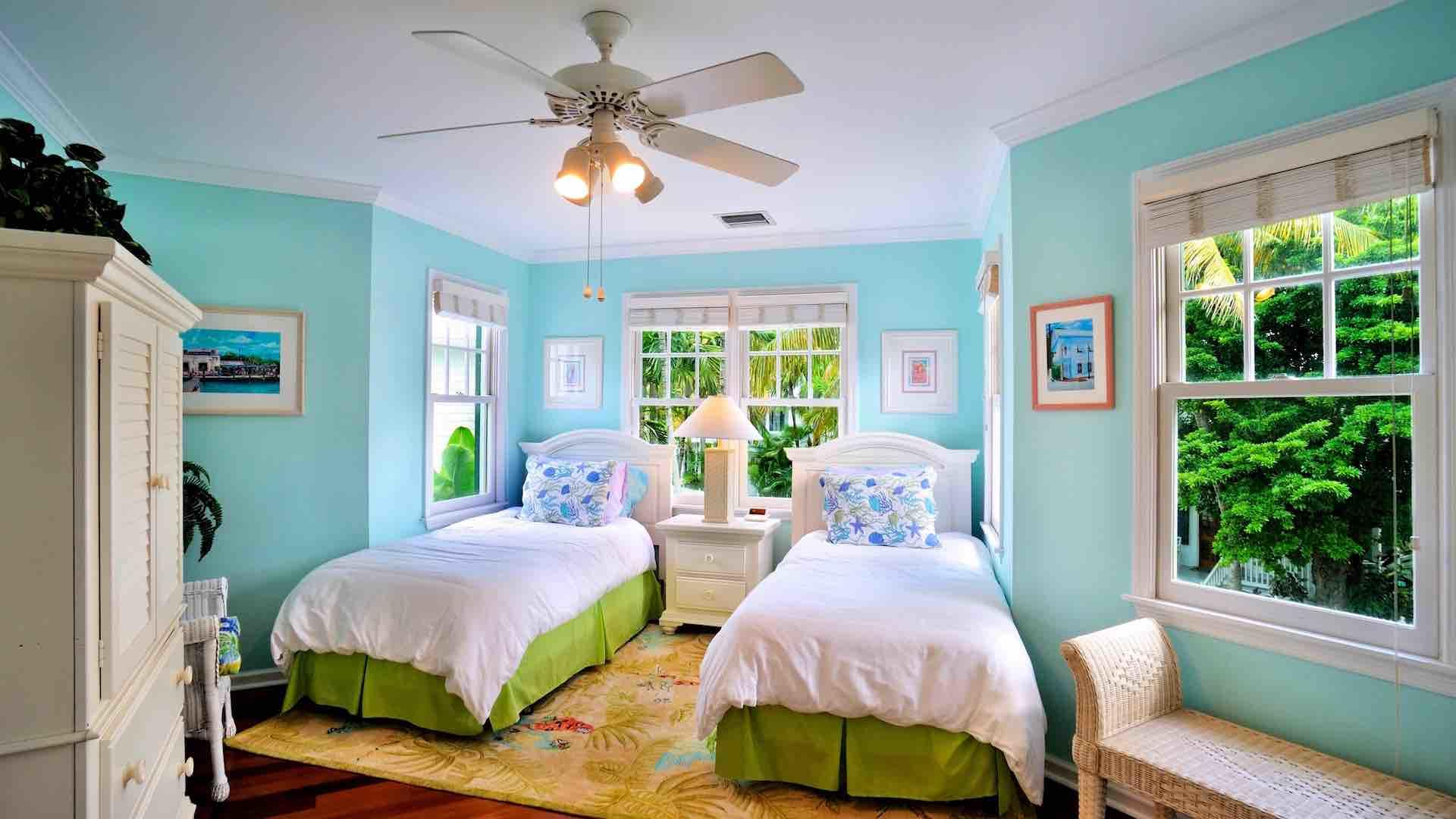 The second bedroom has two twin beds that can convert to a king bed on request...
