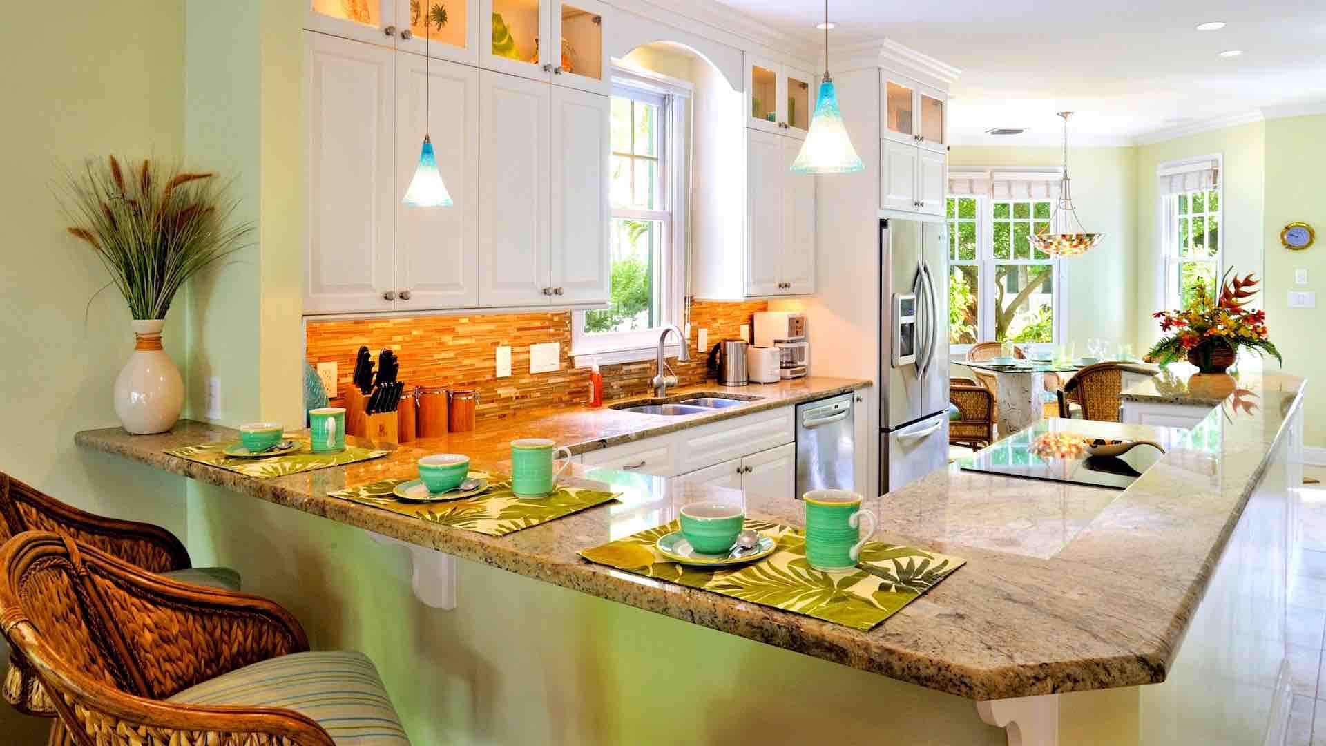 The kitchen is equipped with top of the line appliances and everything else, too...