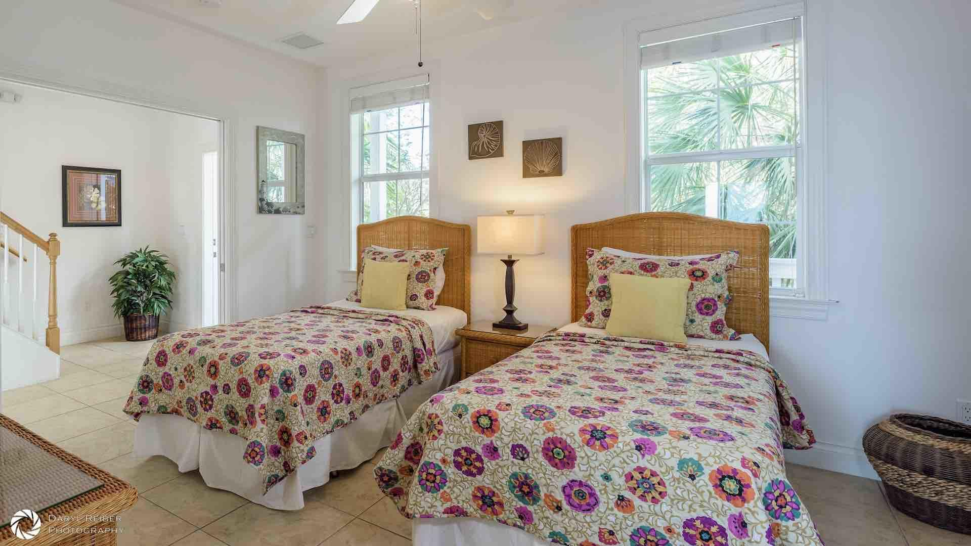The first bedroom is on the first level with two twin beds that can be converted to a King bed...