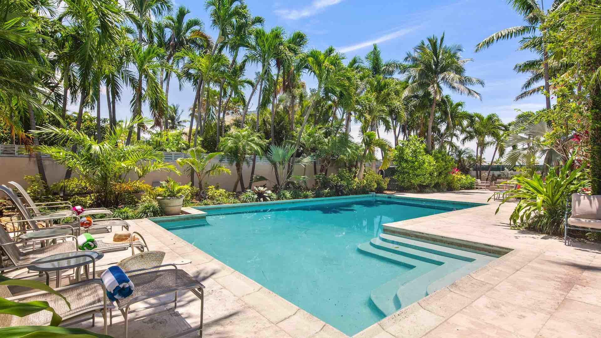 The pool area is fenced for complete privacy...