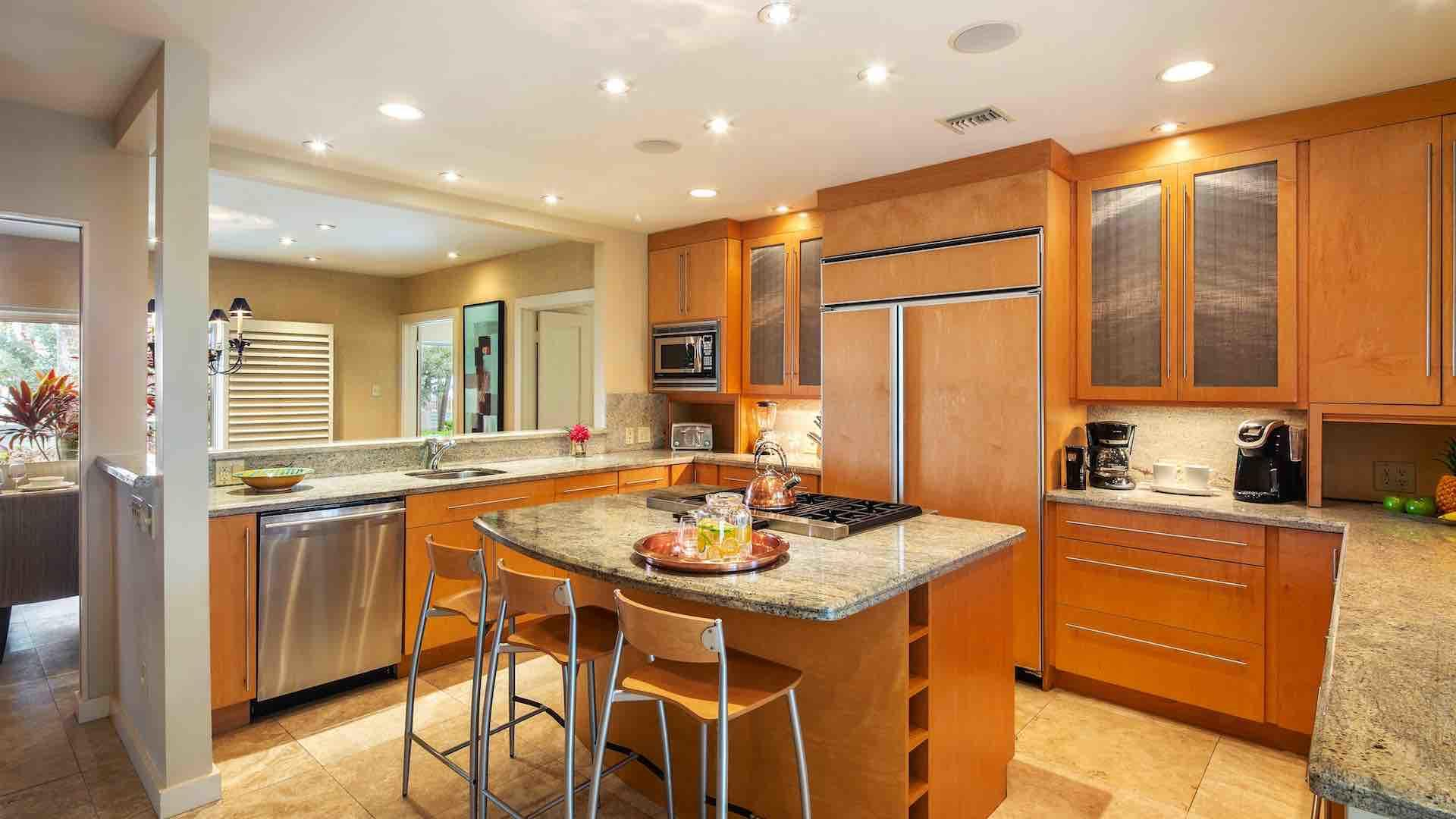 The spacious kitchen has plenty of cabinet and countertop space...