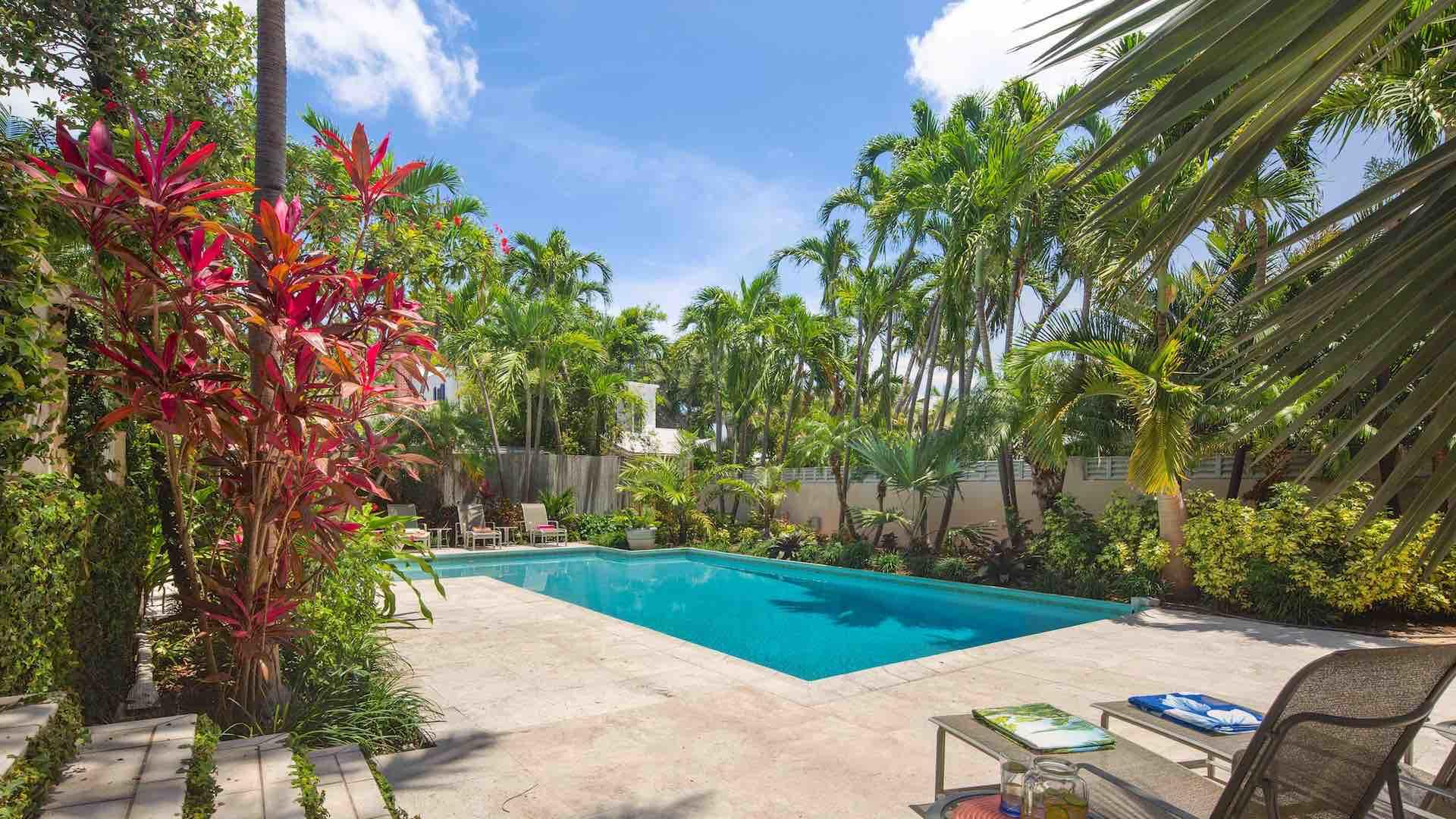 Tropical lush landscaping can be found throughout the property...