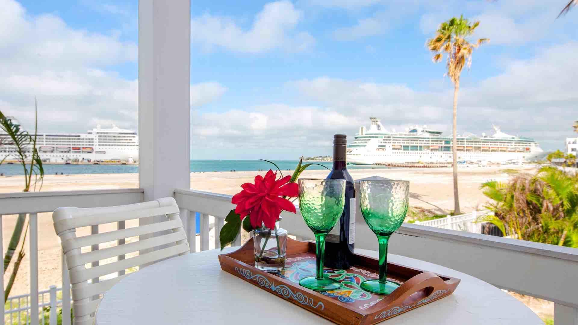 Enjoy an outdoor meal or happy hour from the private balcony...