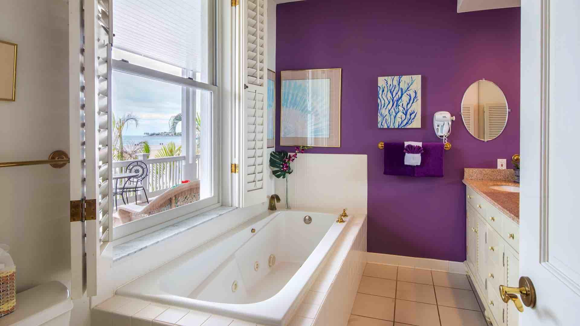 The master bathroom also has a jacuzzi-style tub...