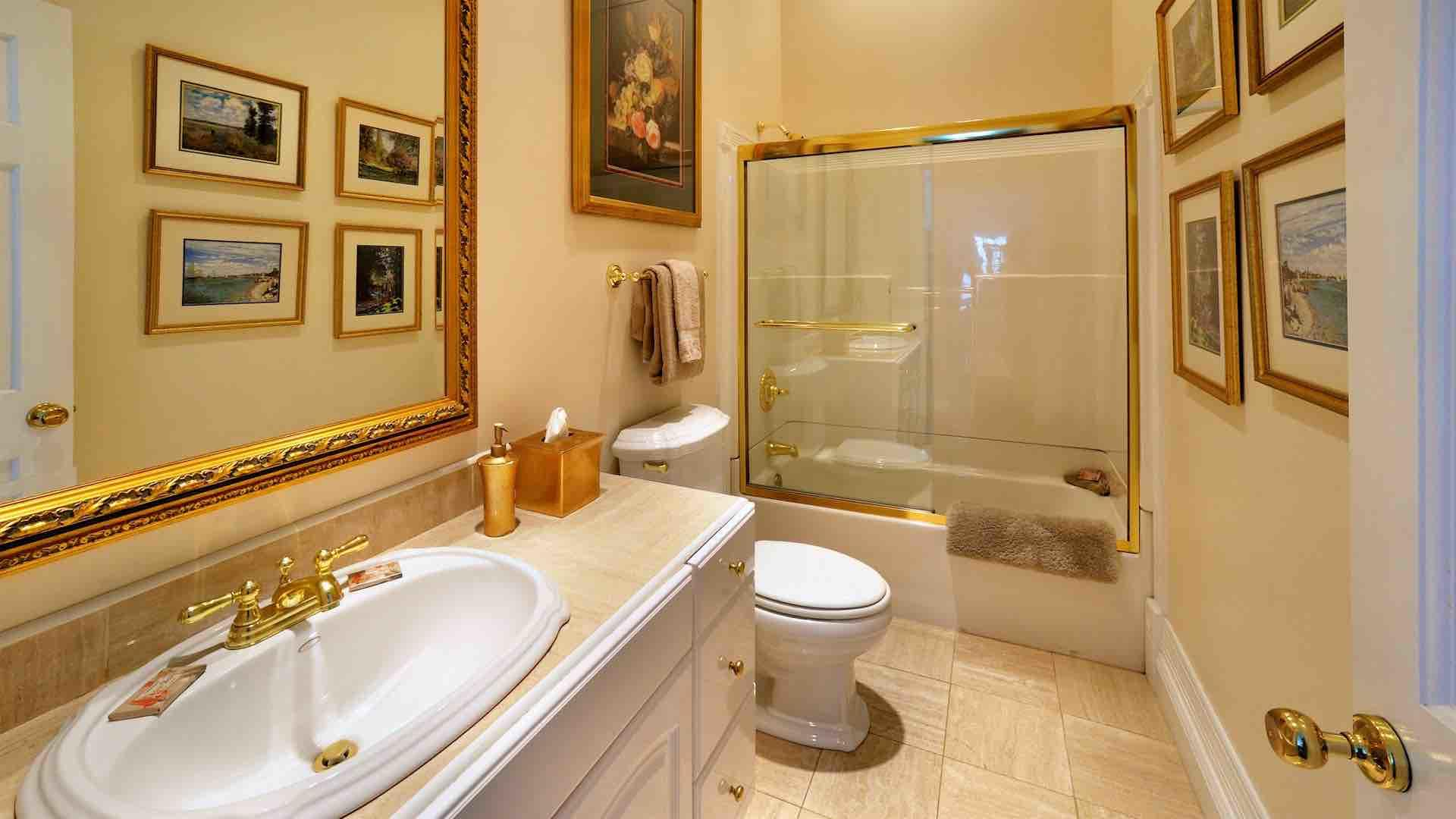 The hall bath also has a tub and shower for the convenience of extra guests...