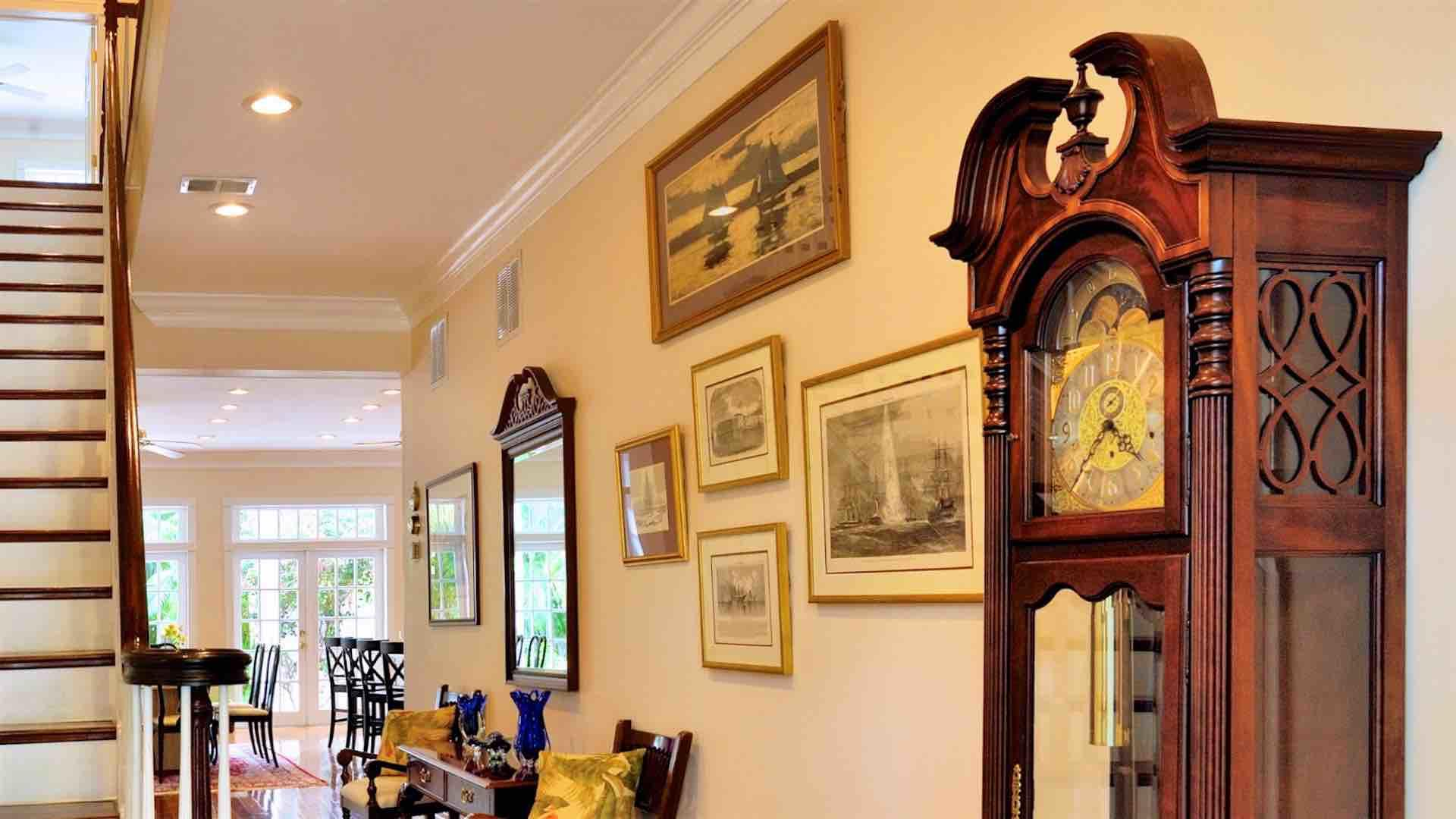 Intricate photos and artwork hang on the walls throughout the home...