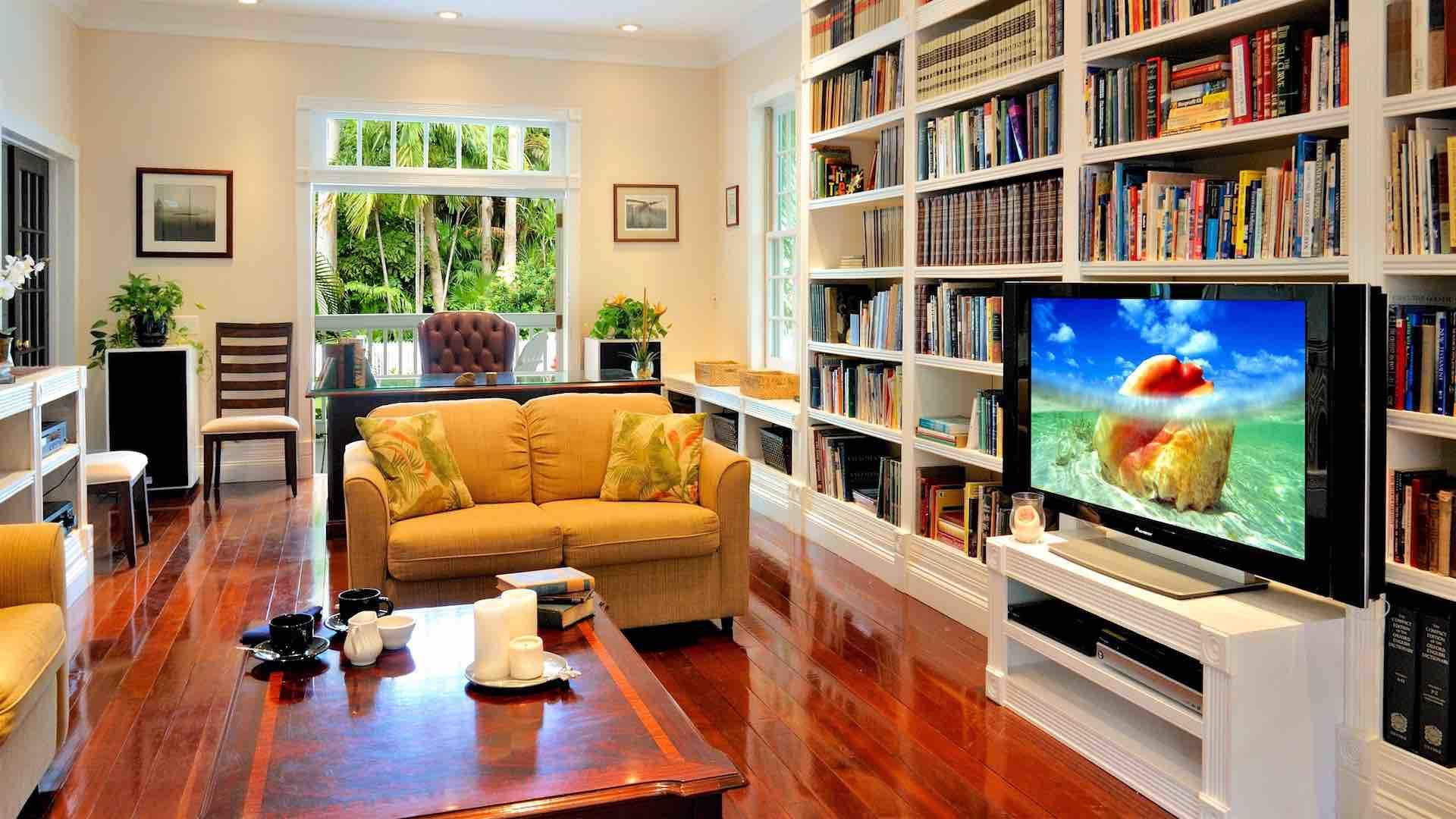 The media room can serve as an Office or library space...